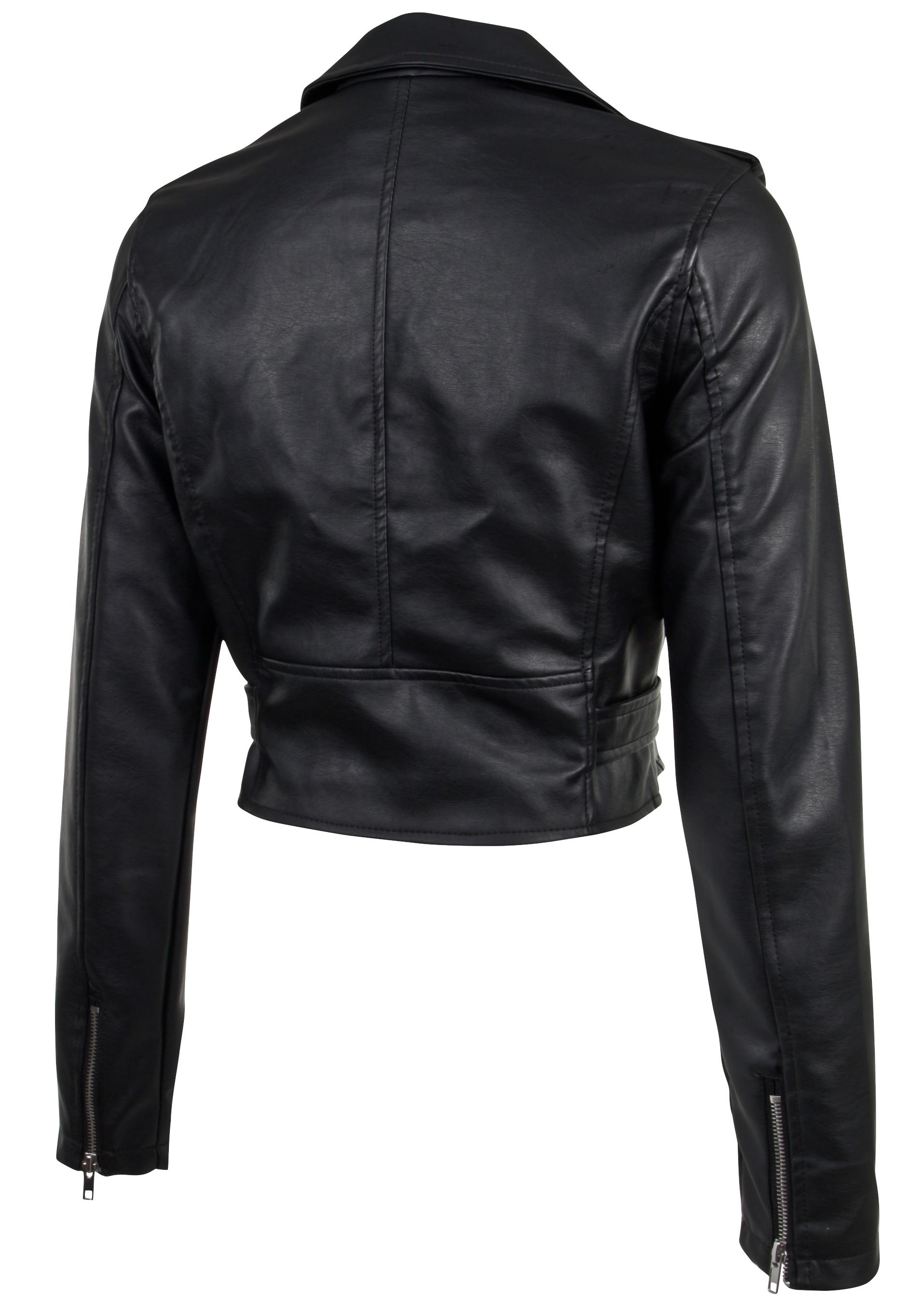 Women-039-s-Juniors-Fashionable-Cropped-Faux-Leather-Moto-Biker-Jacket thumbnail 10