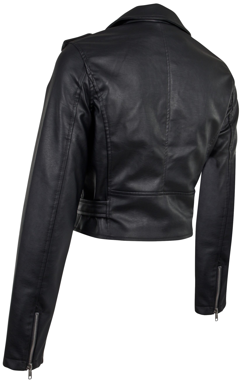 Women-039-s-Juniors-Fashionable-Cropped-Faux-Leather-Moto-Biker-Jacket thumbnail 11
