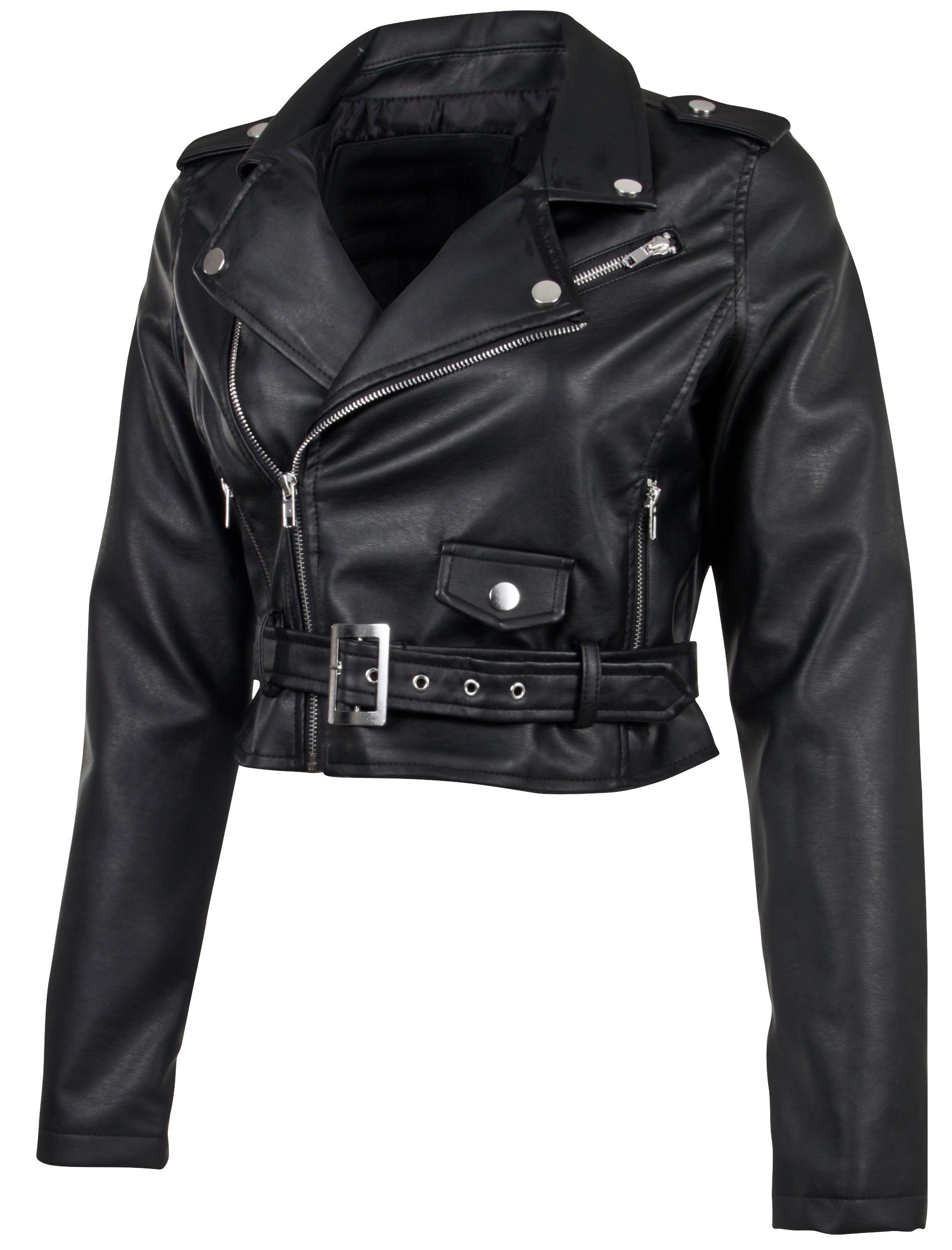 Women-039-s-Juniors-Fashionable-Cropped-Faux-Leather-Moto-Biker-Jacket thumbnail 8