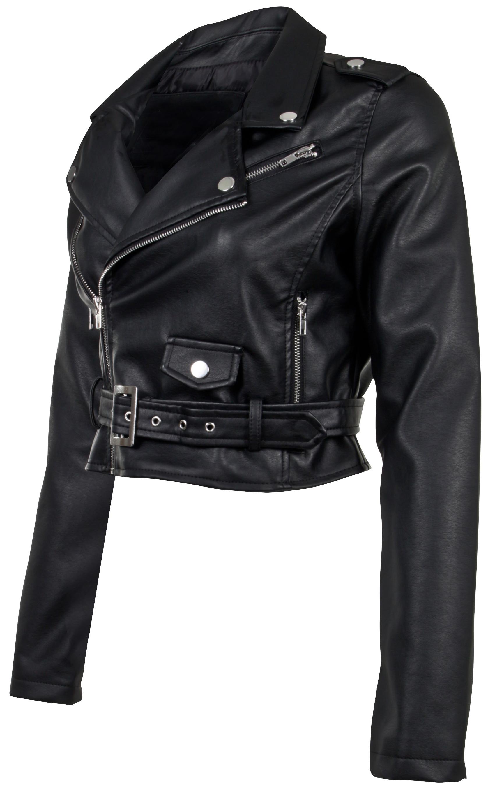 Women-039-s-Juniors-Fashionable-Cropped-Faux-Leather-Moto-Biker-Jacket thumbnail 9