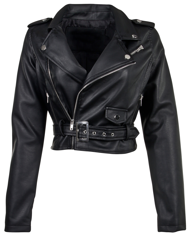 Women-039-s-Juniors-Fashionable-Cropped-Faux-Leather-Moto-Biker-Jacket thumbnail 7
