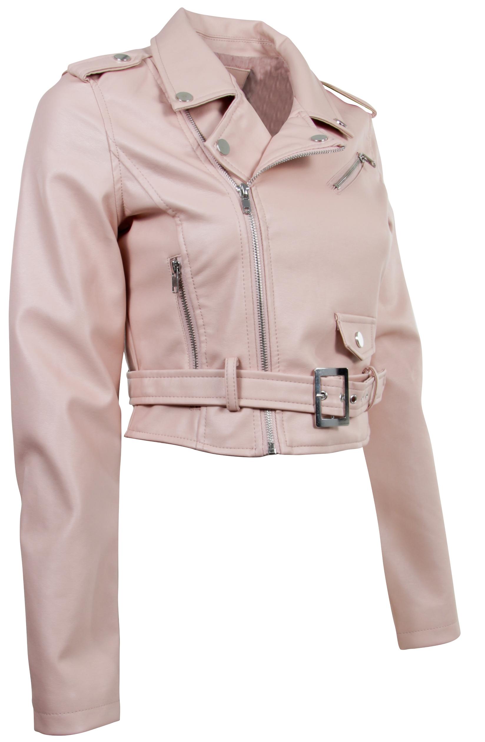Women-039-s-Juniors-Fashionable-Cropped-Faux-Leather-Moto-Biker-Jacket thumbnail 14