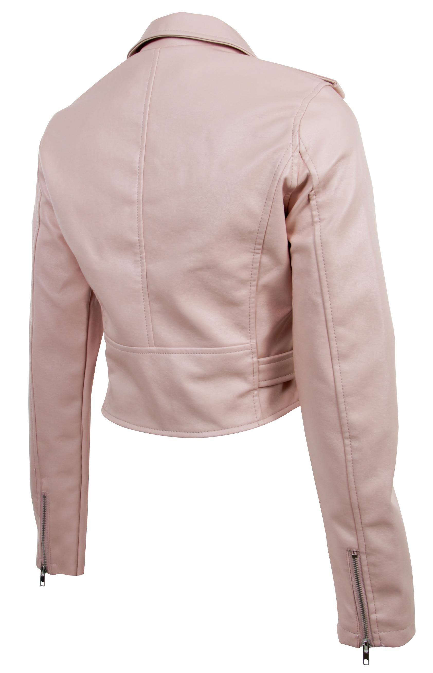 Women-039-s-Juniors-Fashionable-Cropped-Faux-Leather-Moto-Biker-Jacket thumbnail 15