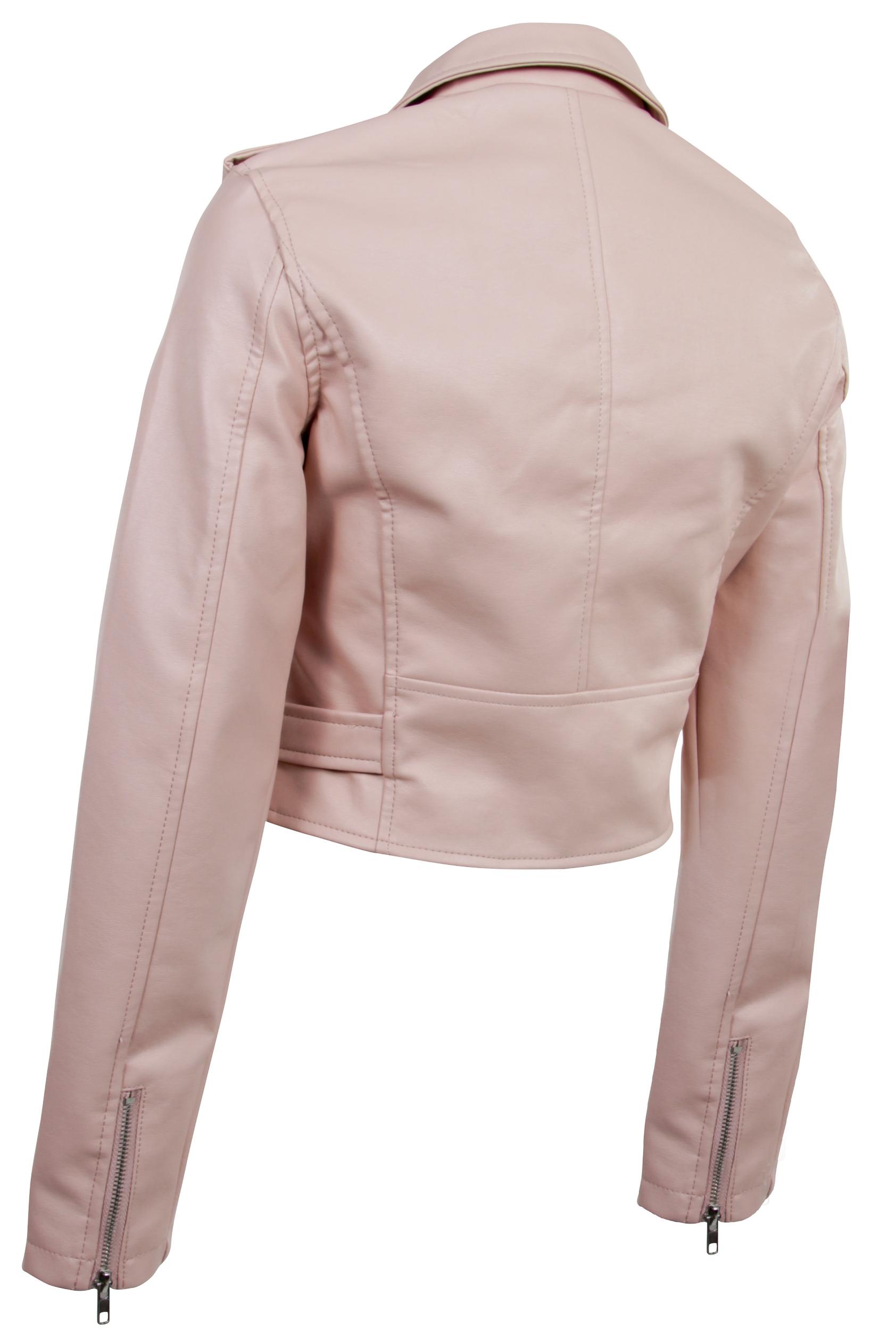 Women-039-s-Juniors-Fashionable-Cropped-Faux-Leather-Moto-Biker-Jacket thumbnail 16
