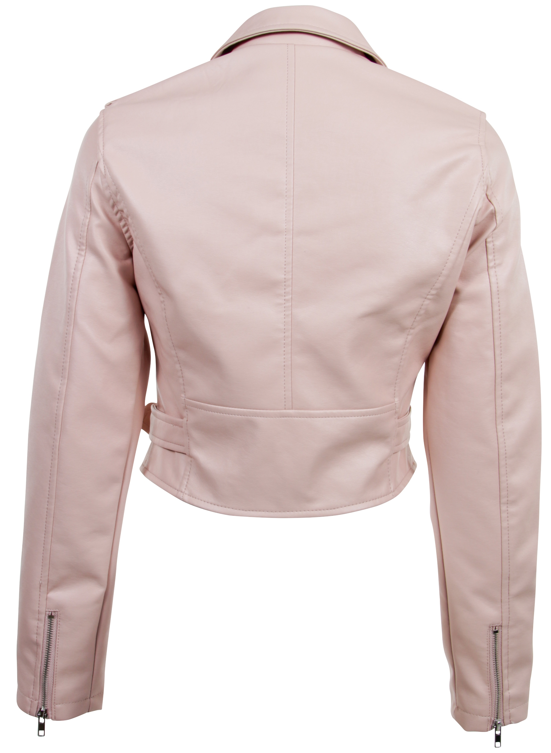 Women-039-s-Juniors-Fashionable-Cropped-Faux-Leather-Moto-Biker-Jacket thumbnail 17