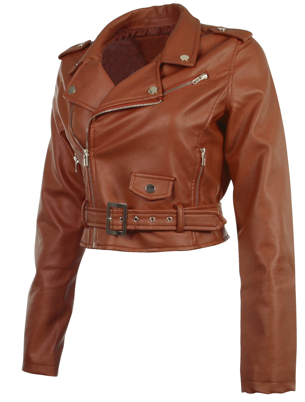 Women-039-s-Juniors-Fashionable-Cropped-Faux-Leather-Moto-Biker-Jacket thumbnail 20