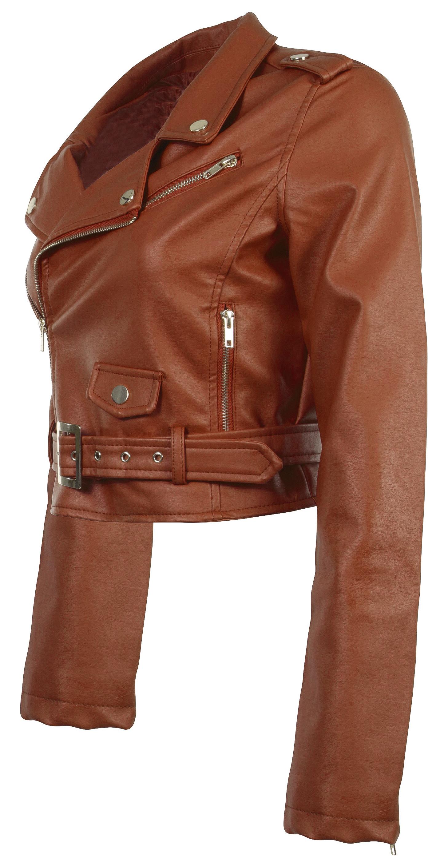 Women-039-s-Juniors-Fashionable-Cropped-Faux-Leather-Moto-Biker-Jacket thumbnail 21