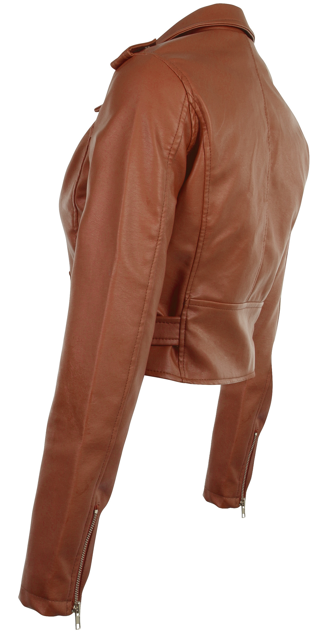 Women-039-s-Juniors-Fashionable-Cropped-Faux-Leather-Moto-Biker-Jacket thumbnail 23