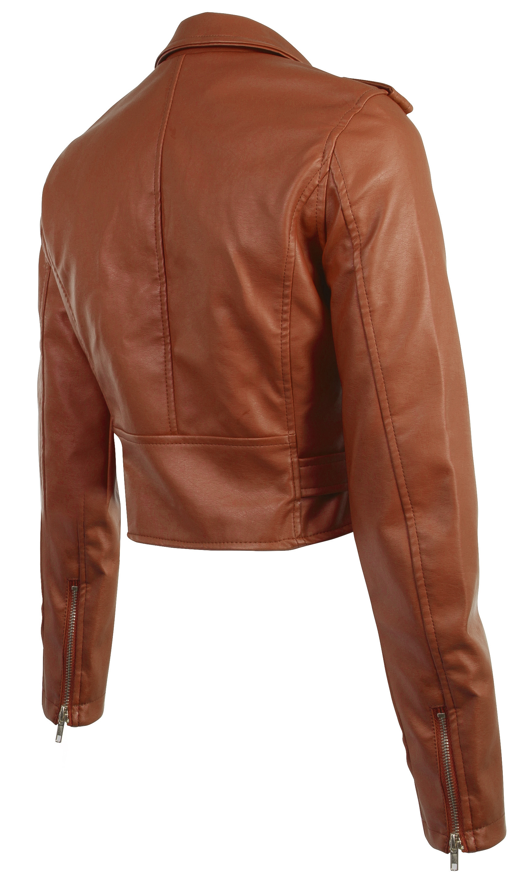 Women-039-s-Juniors-Fashionable-Cropped-Faux-Leather-Moto-Biker-Jacket thumbnail 22
