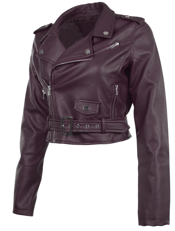 Women-039-s-Juniors-Fashionable-Cropped-Faux-Leather-Moto-Biker-Jacket thumbnail 27
