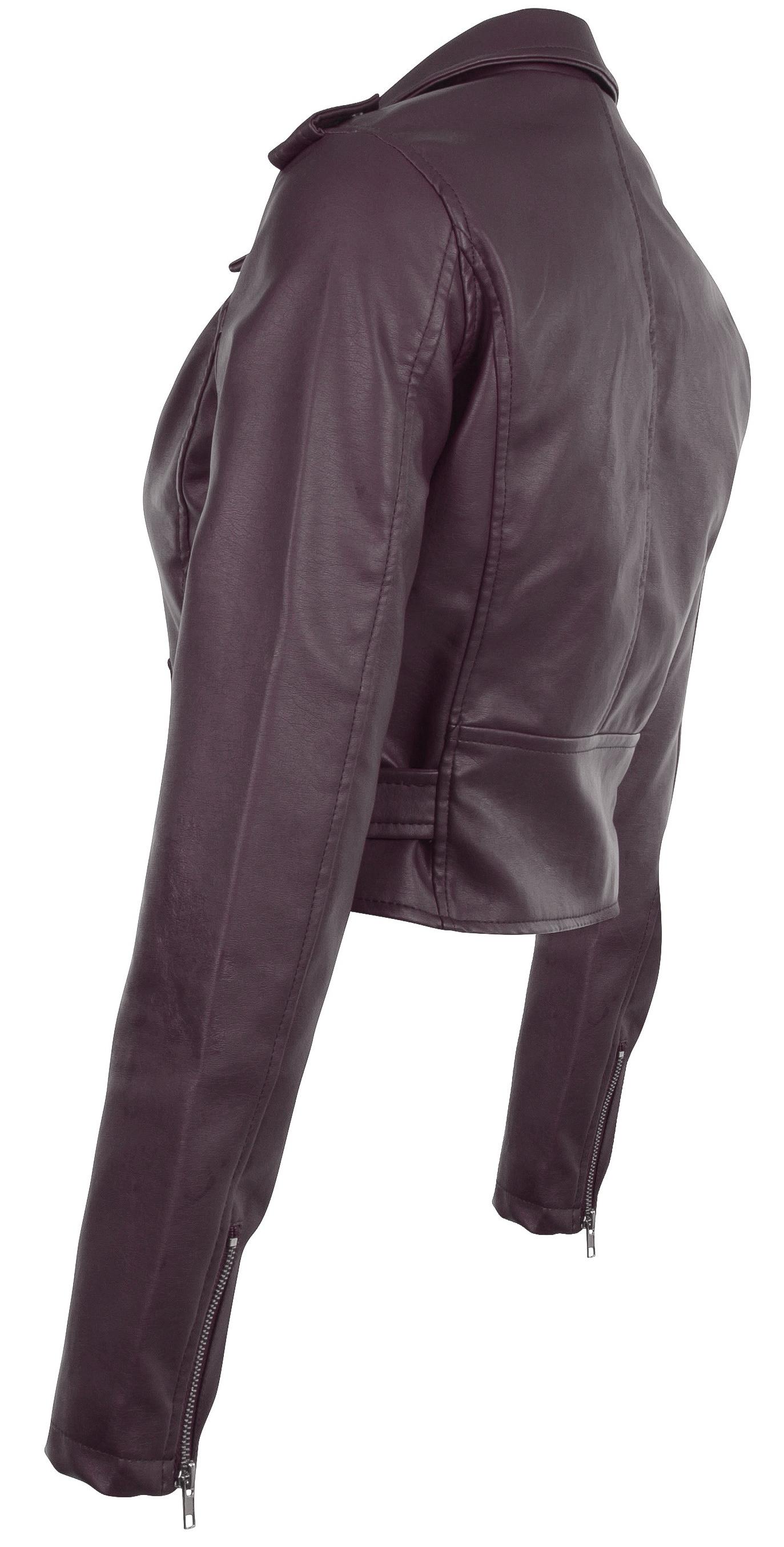 Women-039-s-Juniors-Fashionable-Cropped-Faux-Leather-Moto-Biker-Jacket thumbnail 28