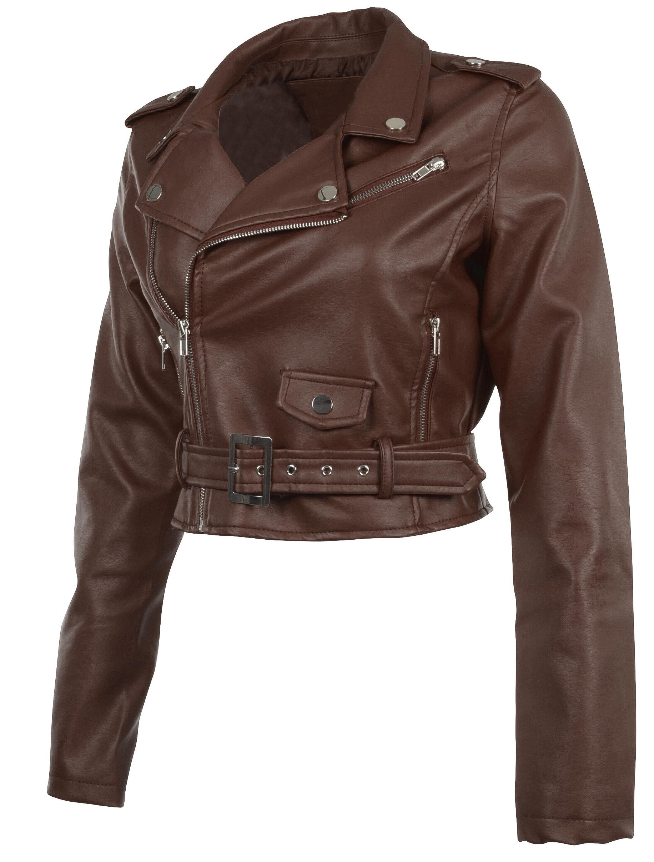 Women-039-s-Juniors-Fashionable-Cropped-Faux-Leather-Moto-Biker-Jacket thumbnail 37
