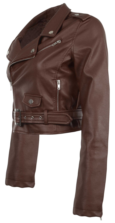 Women-039-s-Juniors-Fashionable-Cropped-Faux-Leather-Moto-Biker-Jacket thumbnail 35