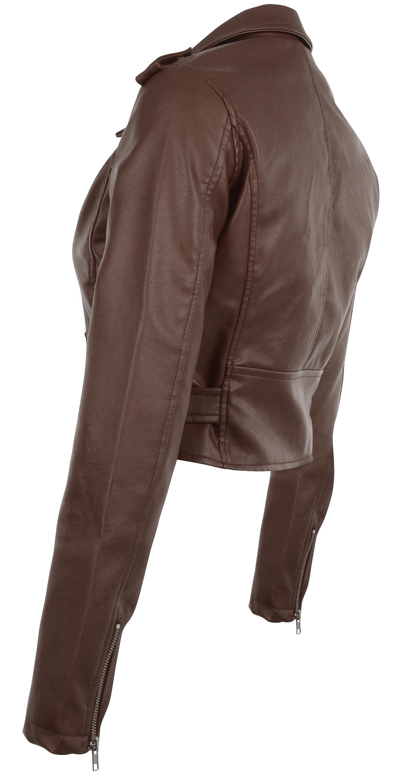 Women-039-s-Juniors-Fashionable-Cropped-Faux-Leather-Moto-Biker-Jacket thumbnail 34