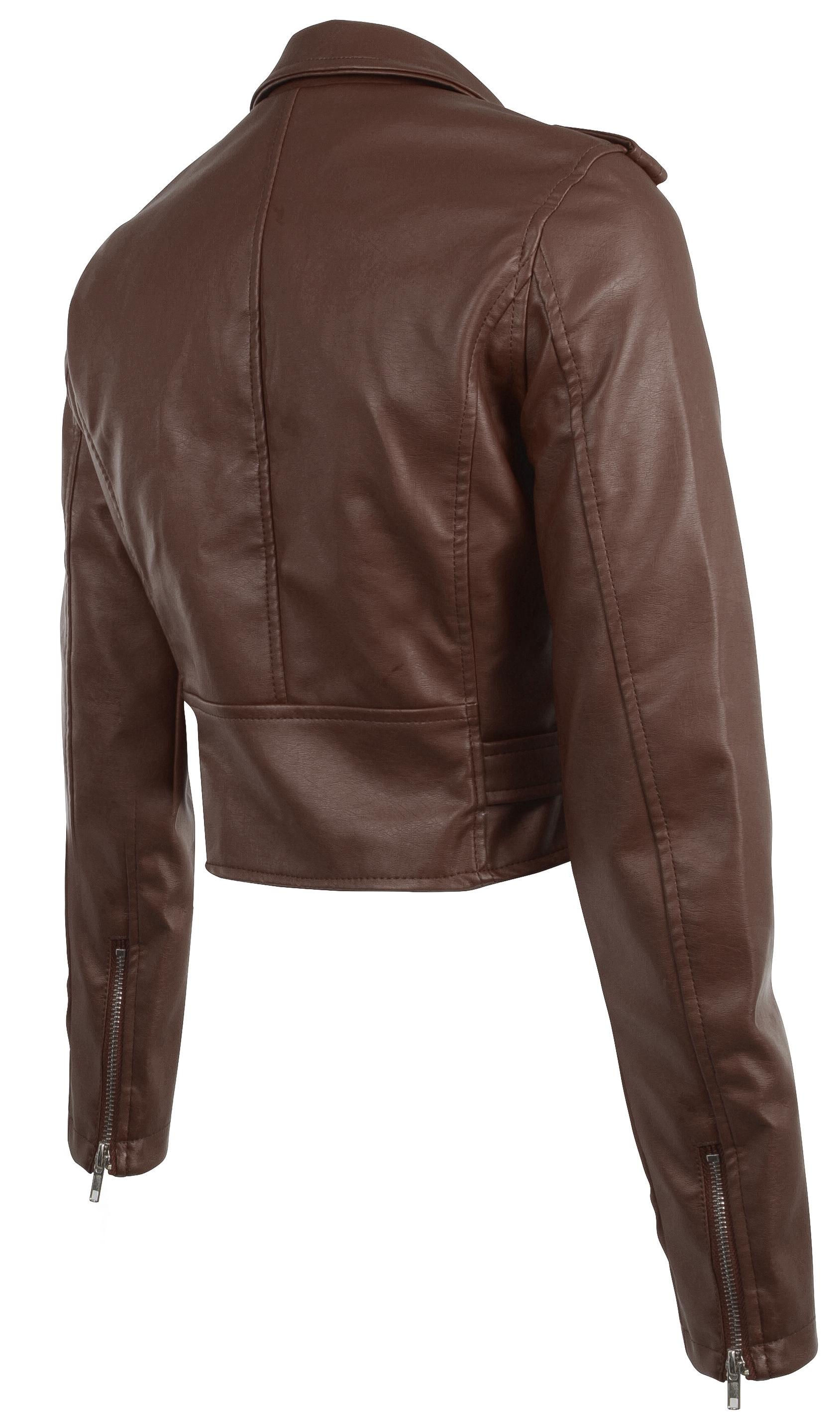 Women-039-s-Juniors-Fashionable-Cropped-Faux-Leather-Moto-Biker-Jacket thumbnail 36