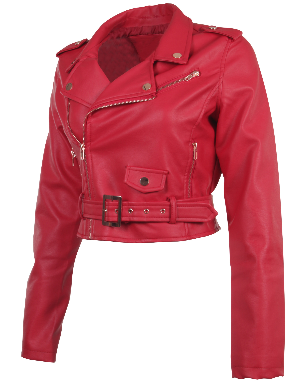 Women-039-s-Juniors-Fashionable-Cropped-Faux-Leather-Moto-Biker-Jacket thumbnail 41