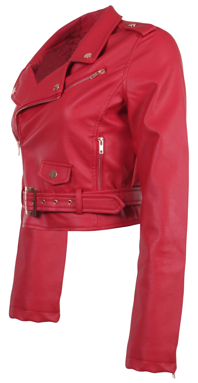 Women-039-s-Juniors-Fashionable-Cropped-Faux-Leather-Moto-Biker-Jacket thumbnail 42