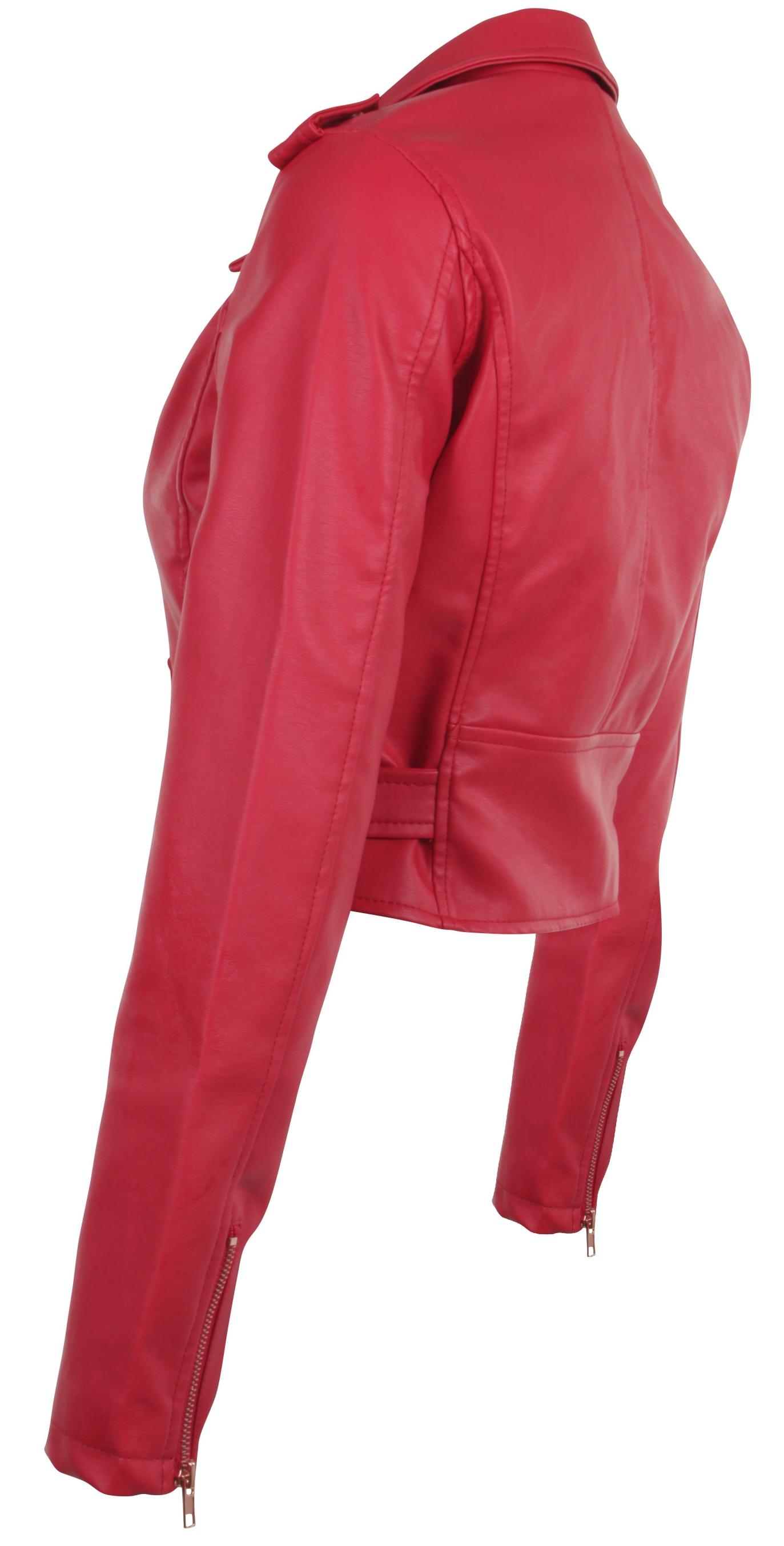 Women-039-s-Juniors-Fashionable-Cropped-Faux-Leather-Moto-Biker-Jacket thumbnail 43