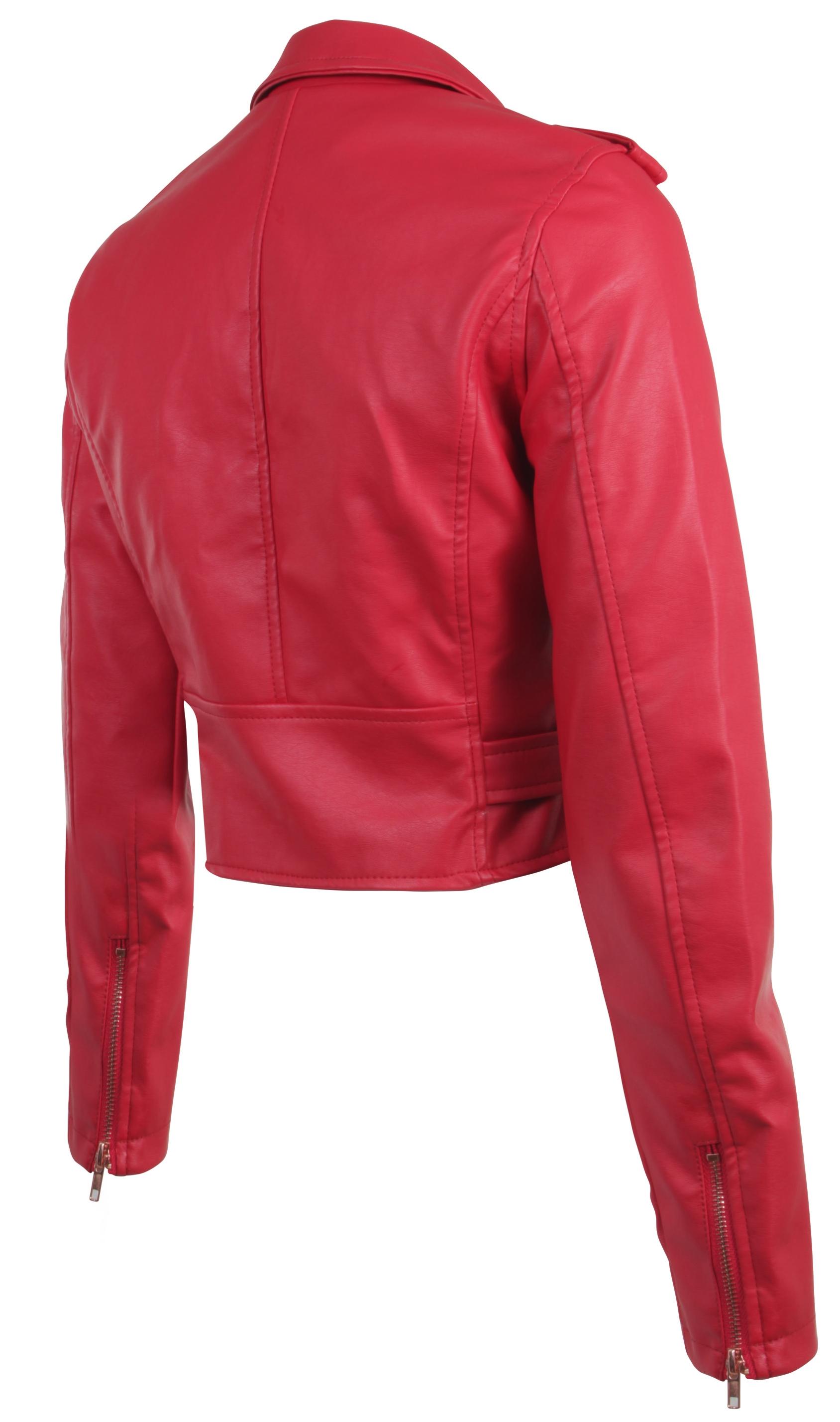 Women-039-s-Juniors-Fashionable-Cropped-Faux-Leather-Moto-Biker-Jacket thumbnail 44