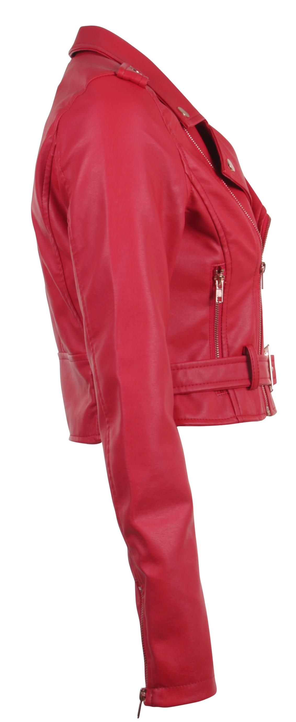 Women-039-s-Juniors-Fashionable-Cropped-Faux-Leather-Moto-Biker-Jacket thumbnail 45