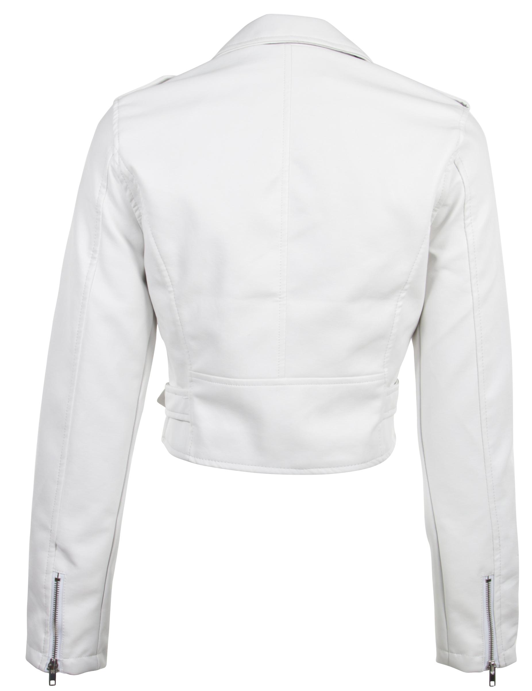 Women-039-s-Juniors-Fashionable-Cropped-Faux-Leather-Moto-Biker-Jacket thumbnail 31