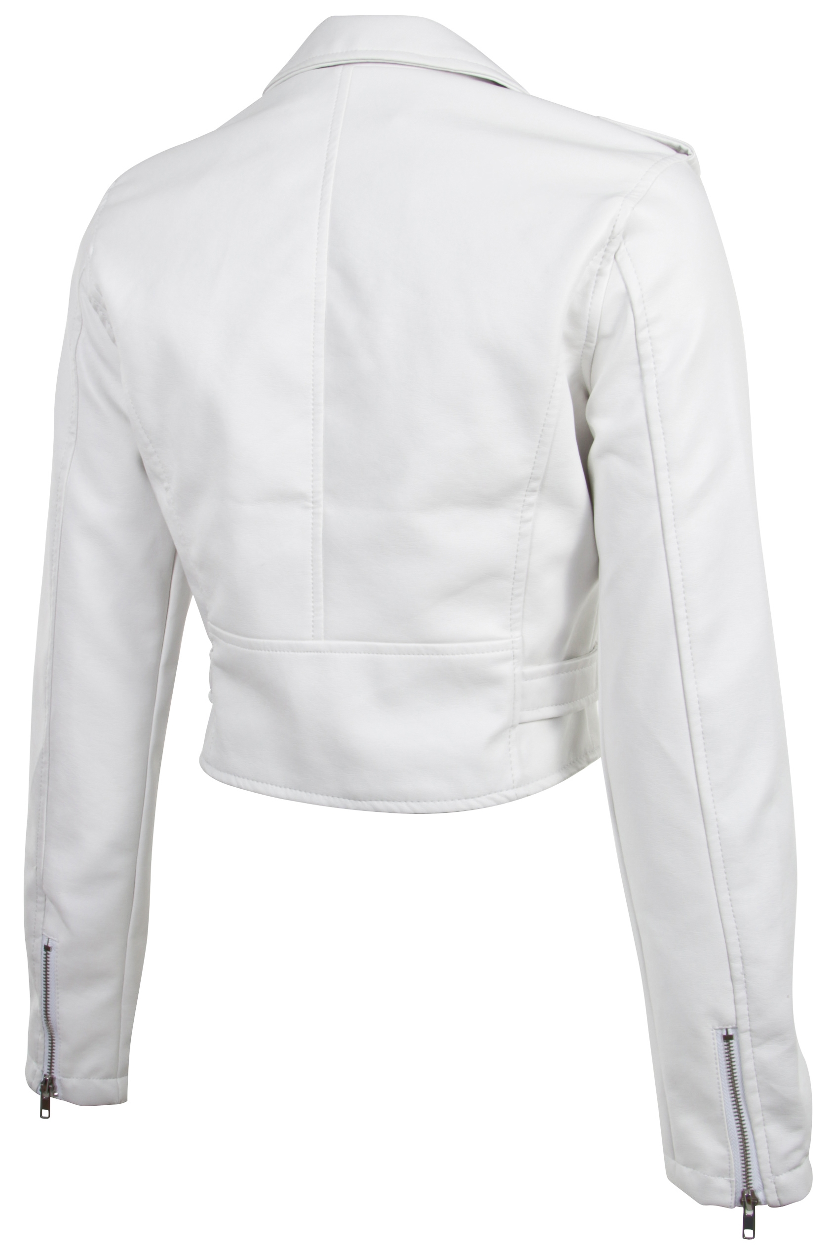 Women-039-s-Juniors-Fashionable-Cropped-Faux-Leather-Moto-Biker-Jacket thumbnail 30