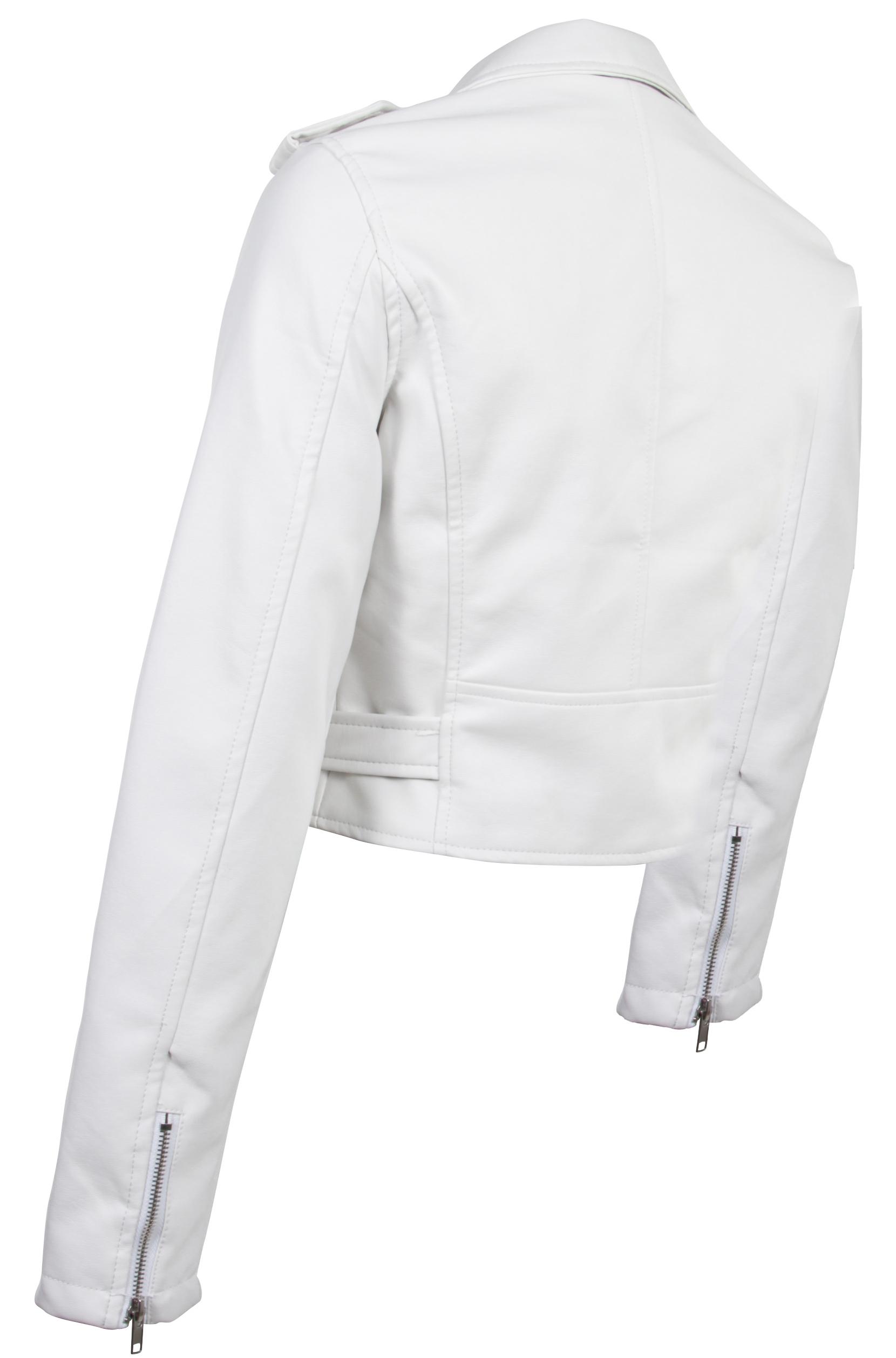 Women-039-s-Juniors-Fashionable-Cropped-Faux-Leather-Moto-Biker-Jacket thumbnail 29