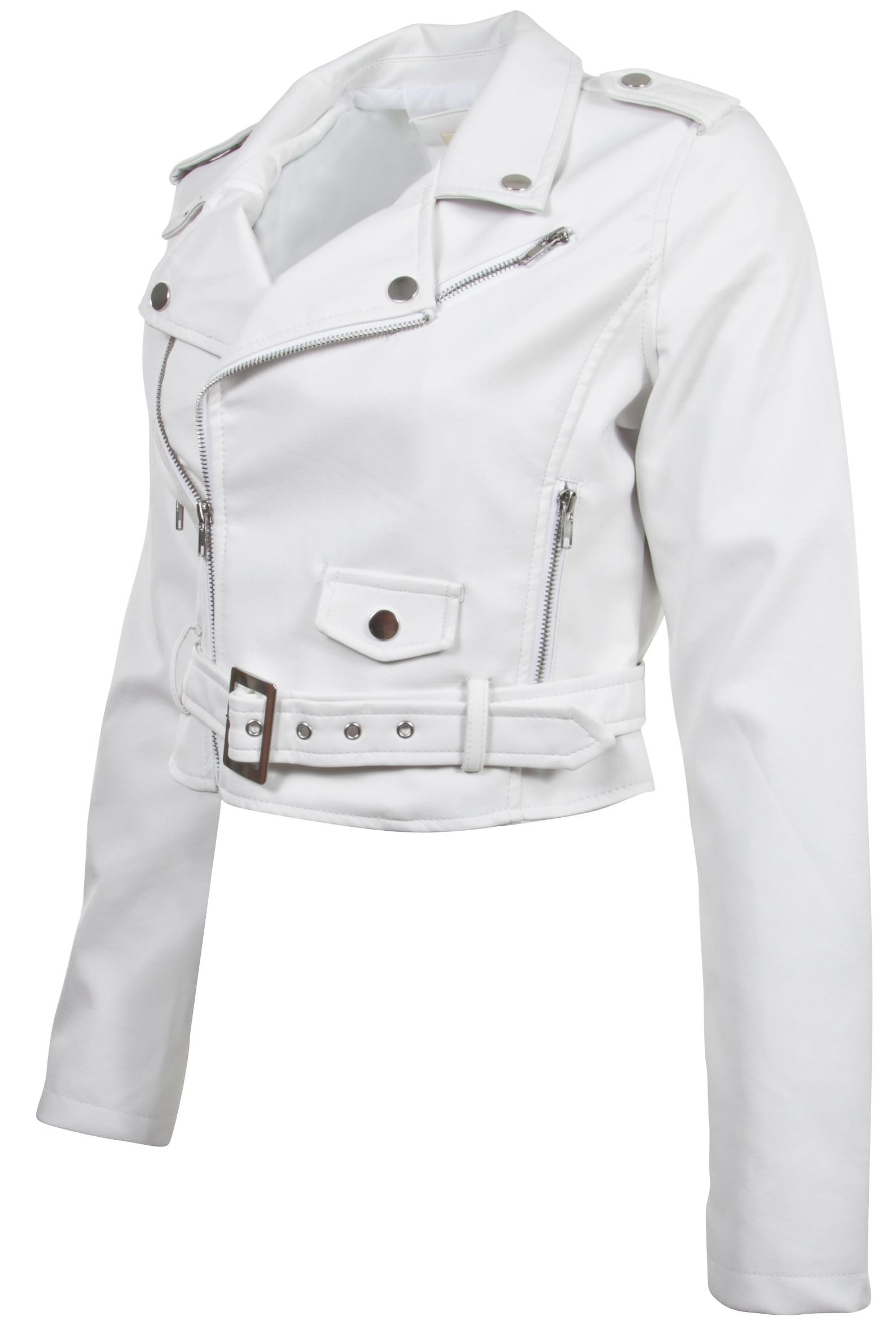 Women-039-s-Juniors-Fashionable-Cropped-Faux-Leather-Moto-Biker-Jacket thumbnail 49