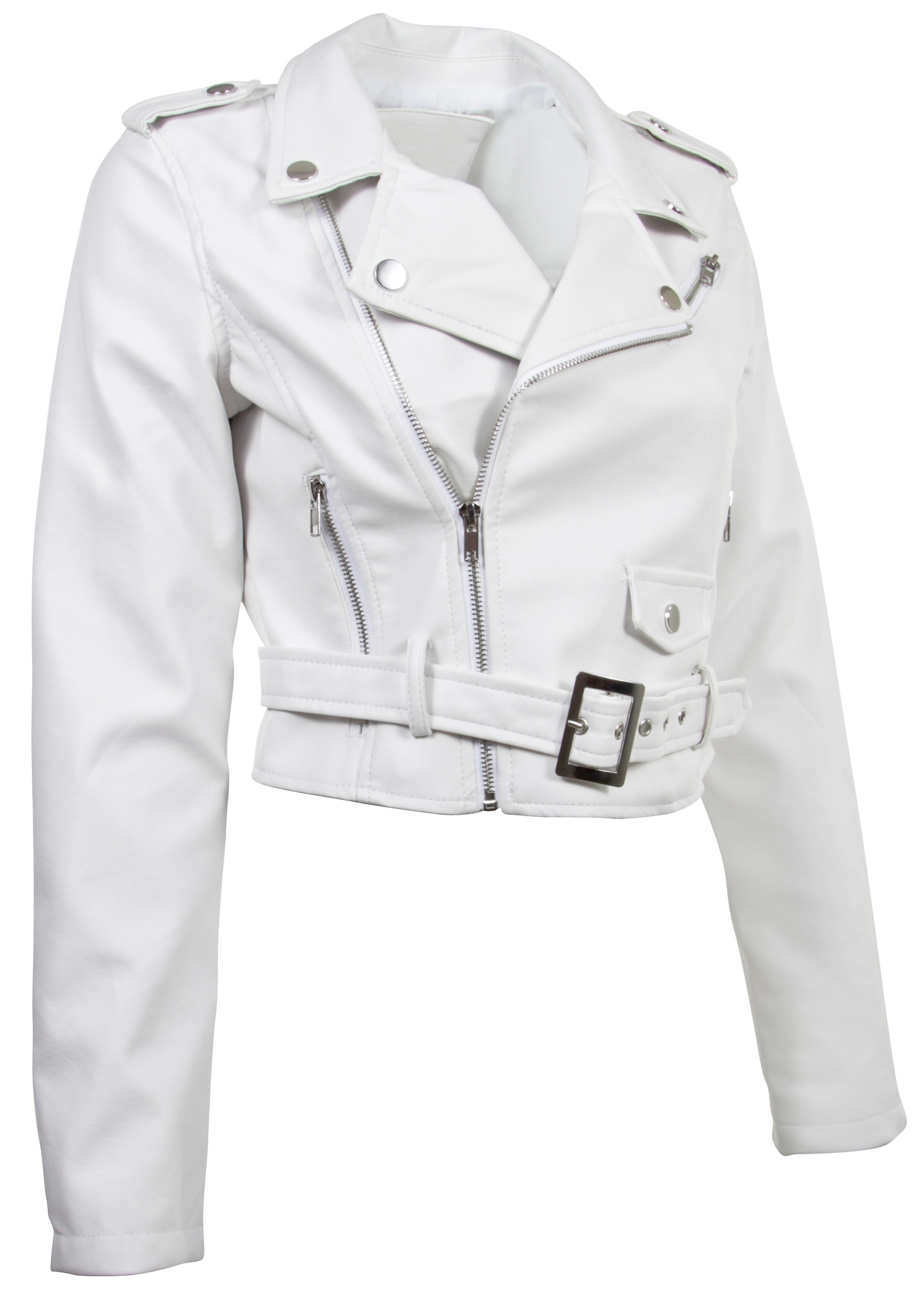 Women-039-s-Juniors-Fashionable-Cropped-Faux-Leather-Moto-Biker-Jacket thumbnail 48