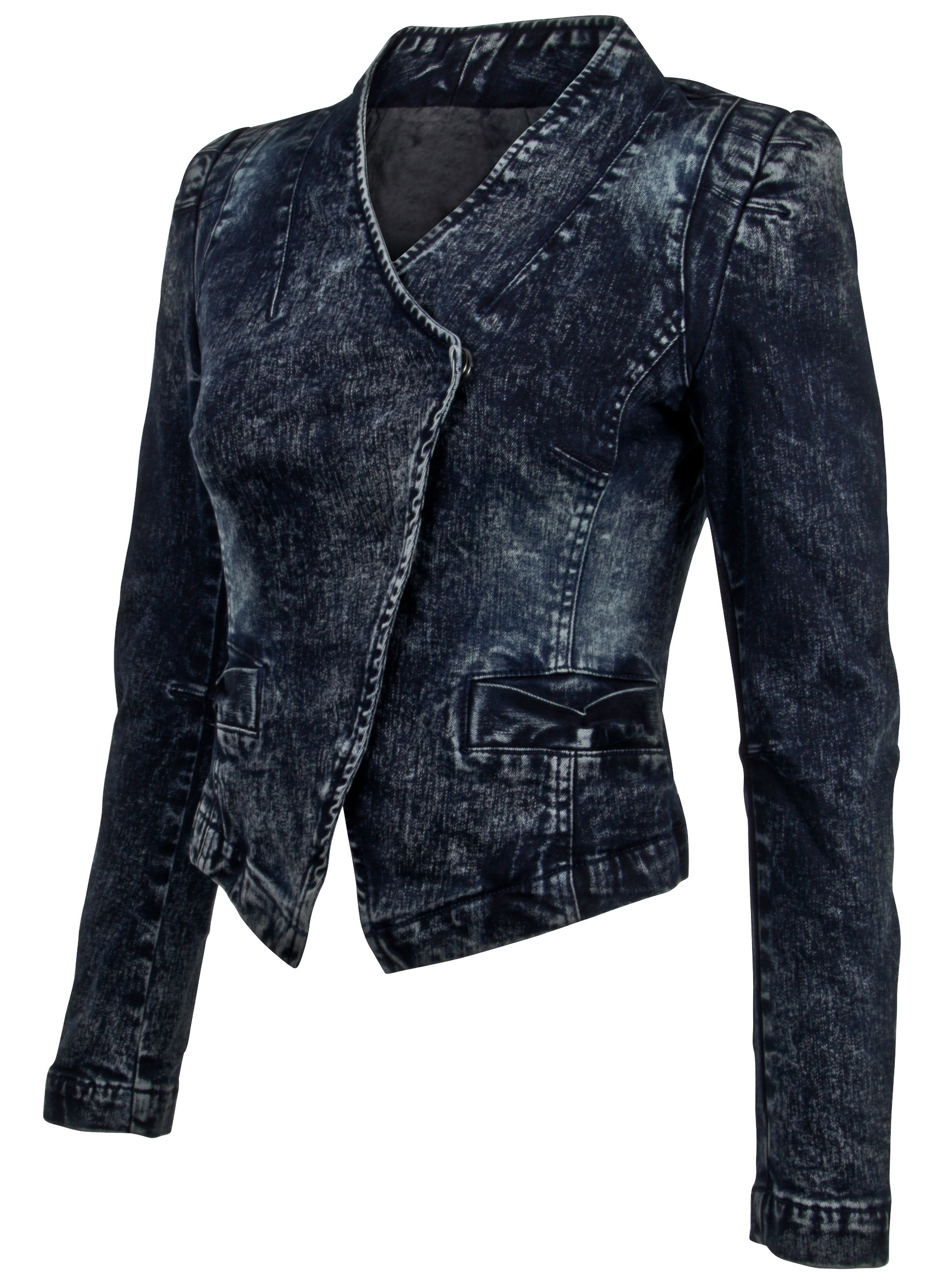 Women-039-s-Juniors-Long-Sleeve-Denim-Blazer-Fitted-Jacket thumbnail 12