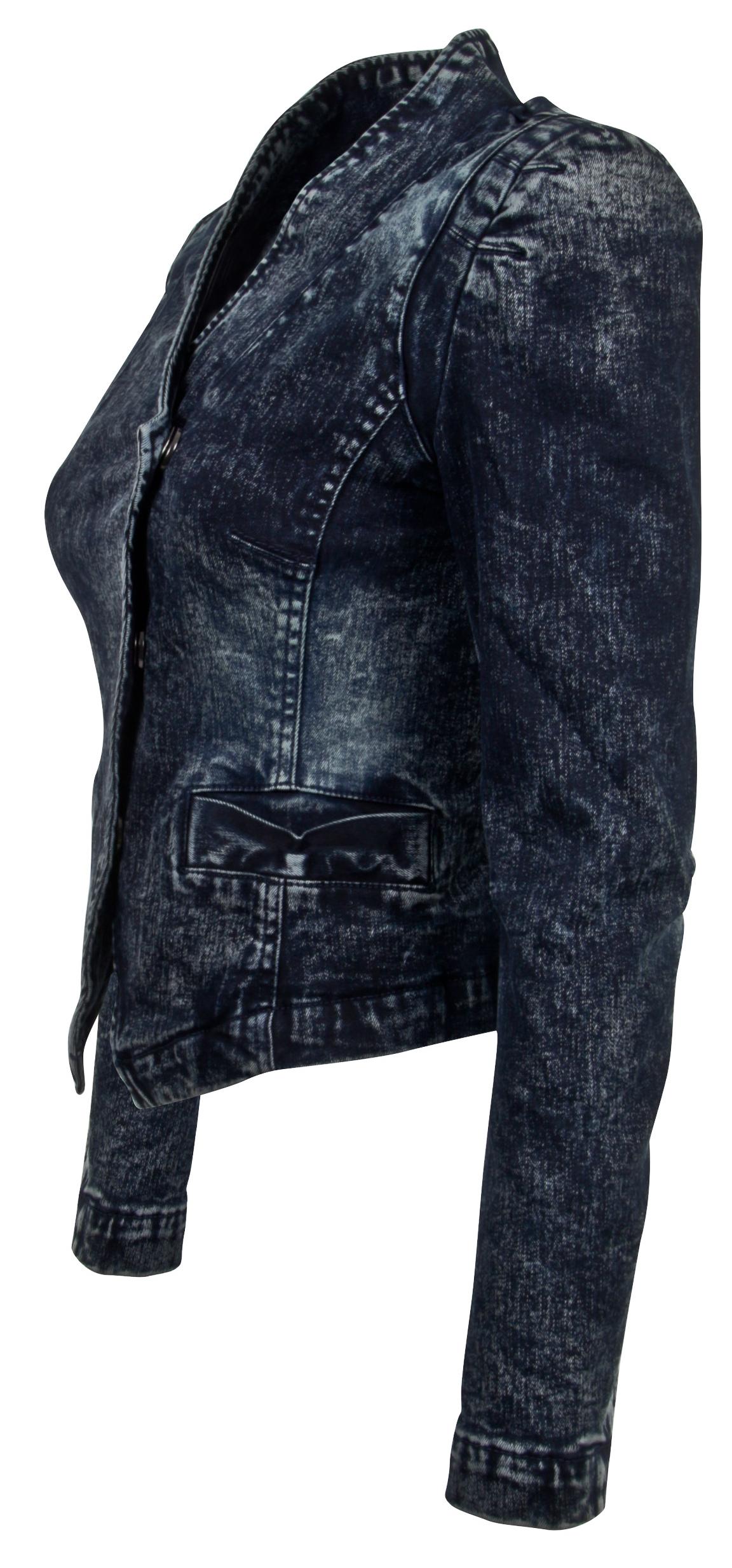 Women-039-s-Juniors-Long-Sleeve-Denim-Blazer-Fitted-Jacket thumbnail 13