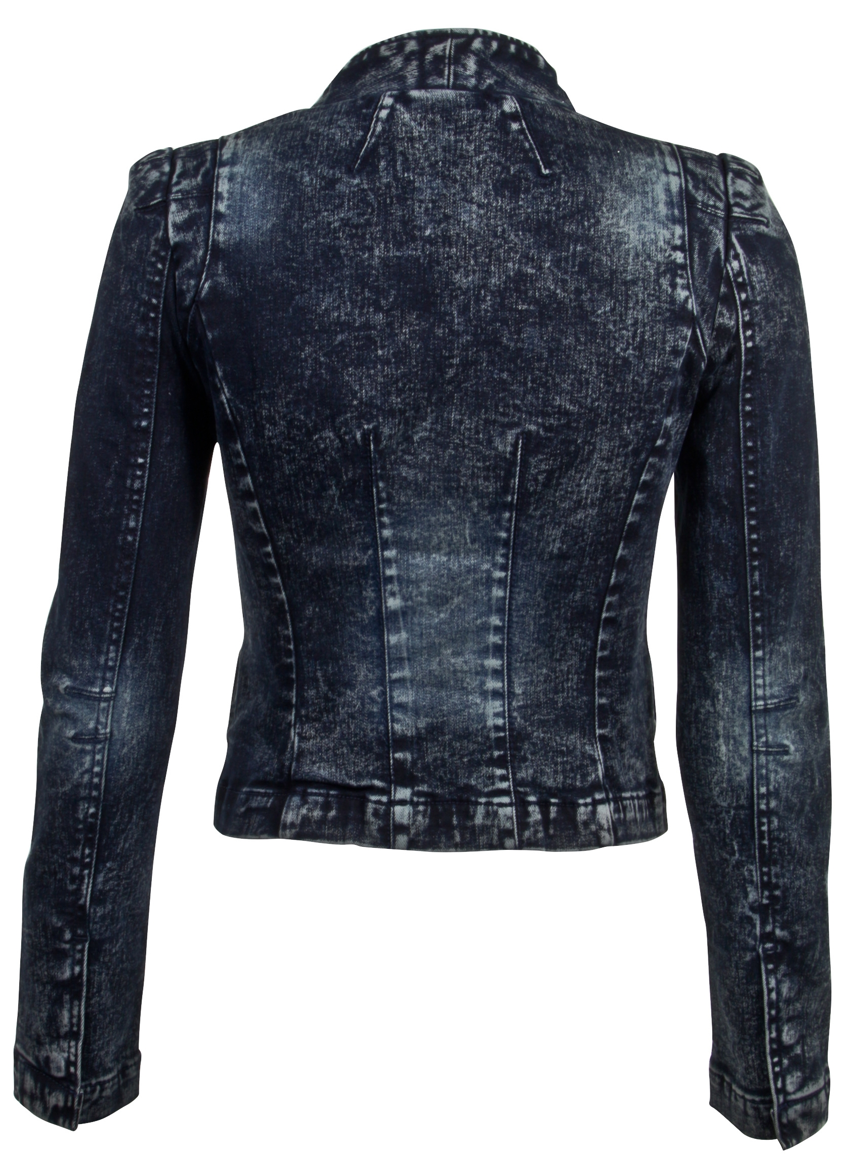 Women-039-s-Juniors-Long-Sleeve-Denim-Blazer-Fitted-Jacket thumbnail 15