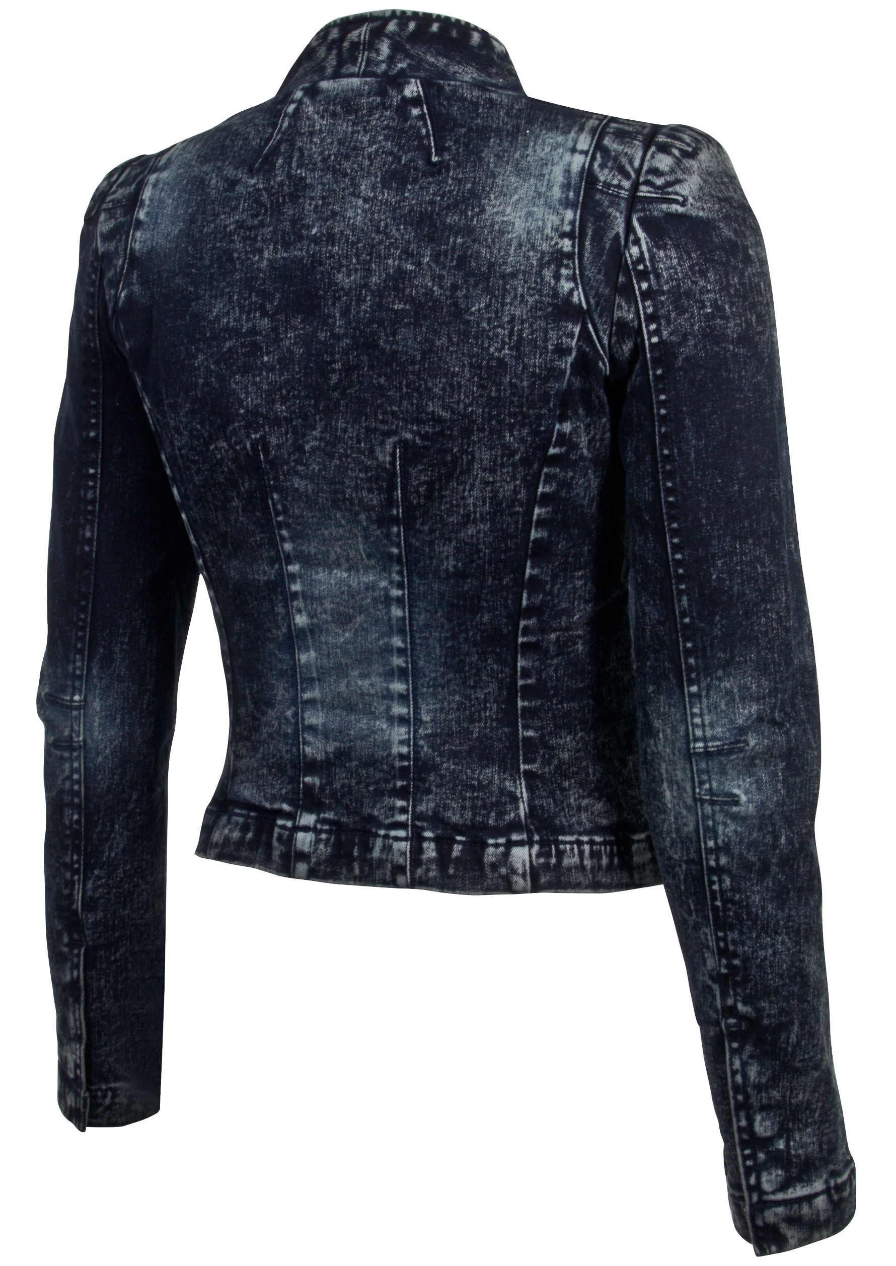 Women-039-s-Juniors-Long-Sleeve-Denim-Blazer-Fitted-Jacket thumbnail 14