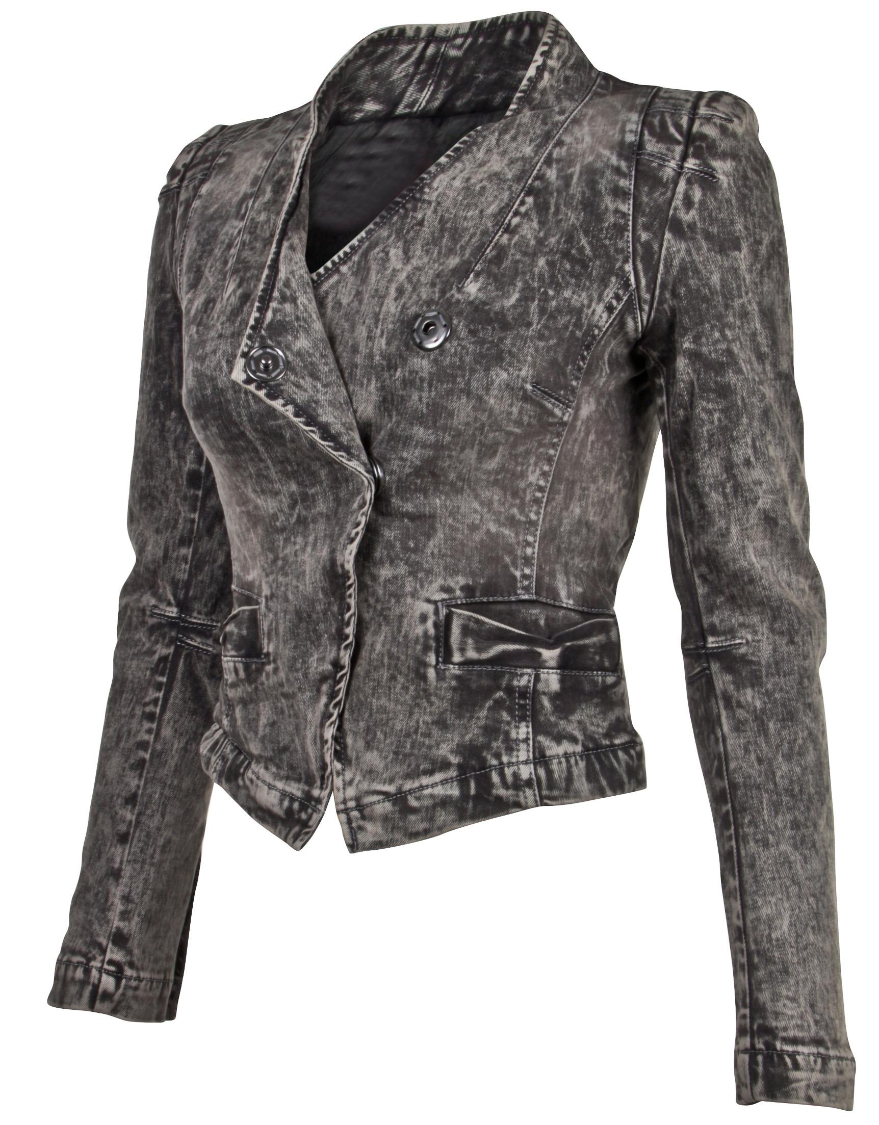 Women-039-s-Juniors-Long-Sleeve-Denim-Blazer-Fitted-Jacket thumbnail 7