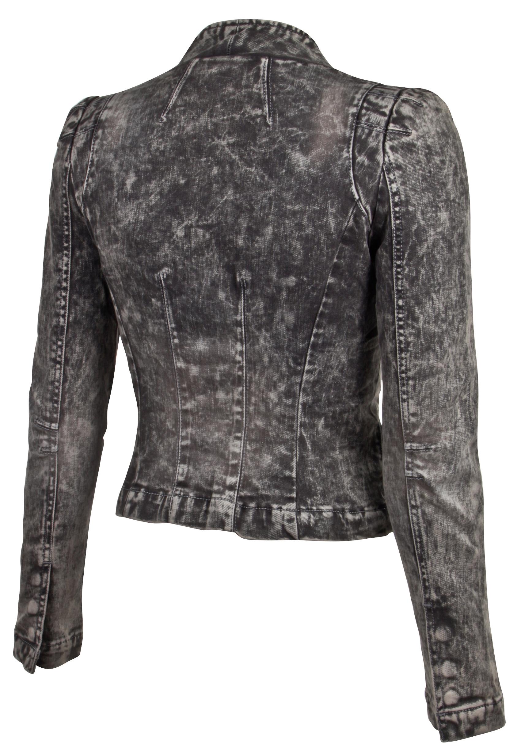 Women-039-s-Juniors-Long-Sleeve-Denim-Blazer-Fitted-Jacket thumbnail 9