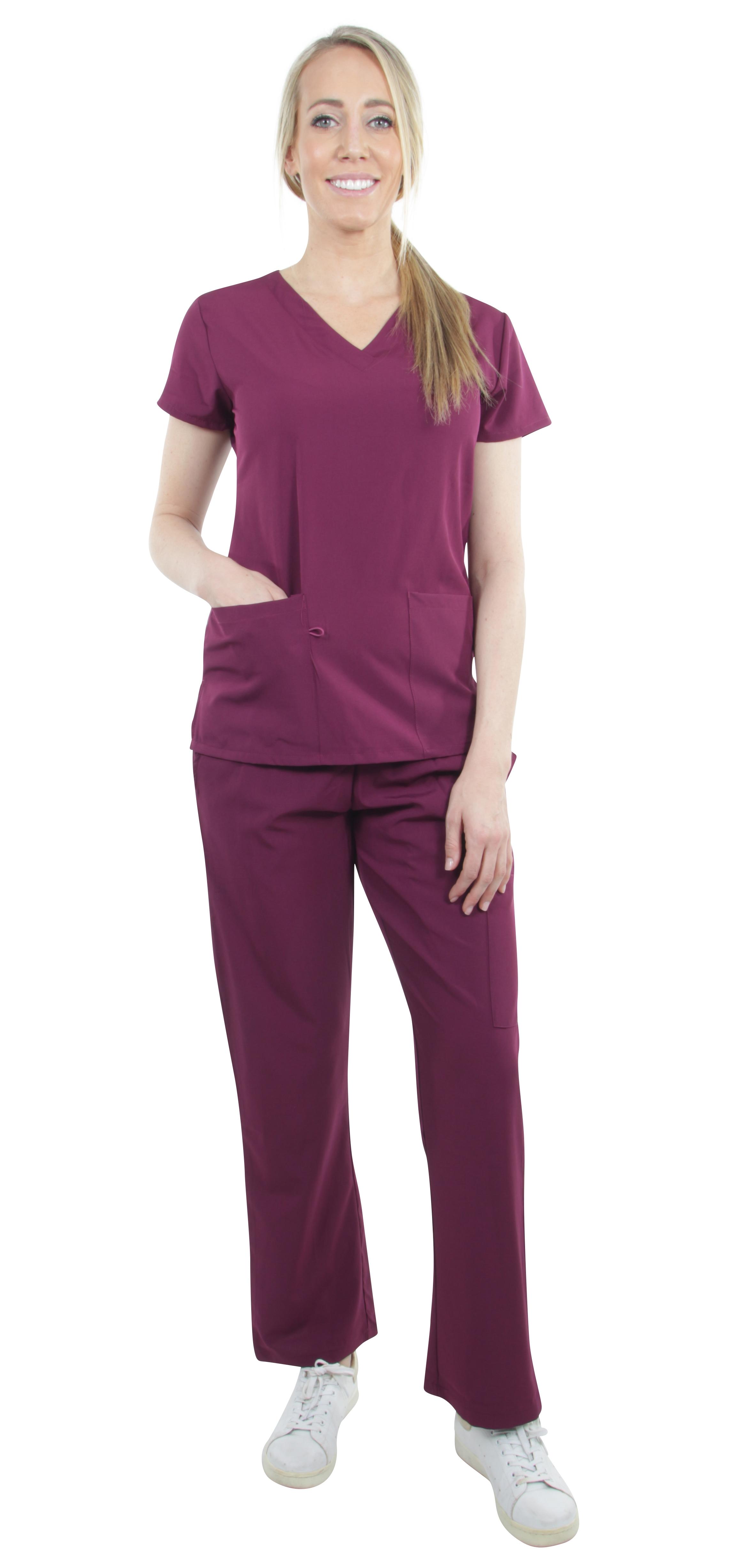 Unisex-Performance-Stretch-Medical-Uniform-Five-Pockets-V-Neck-Scrubs-Sets miniature 9