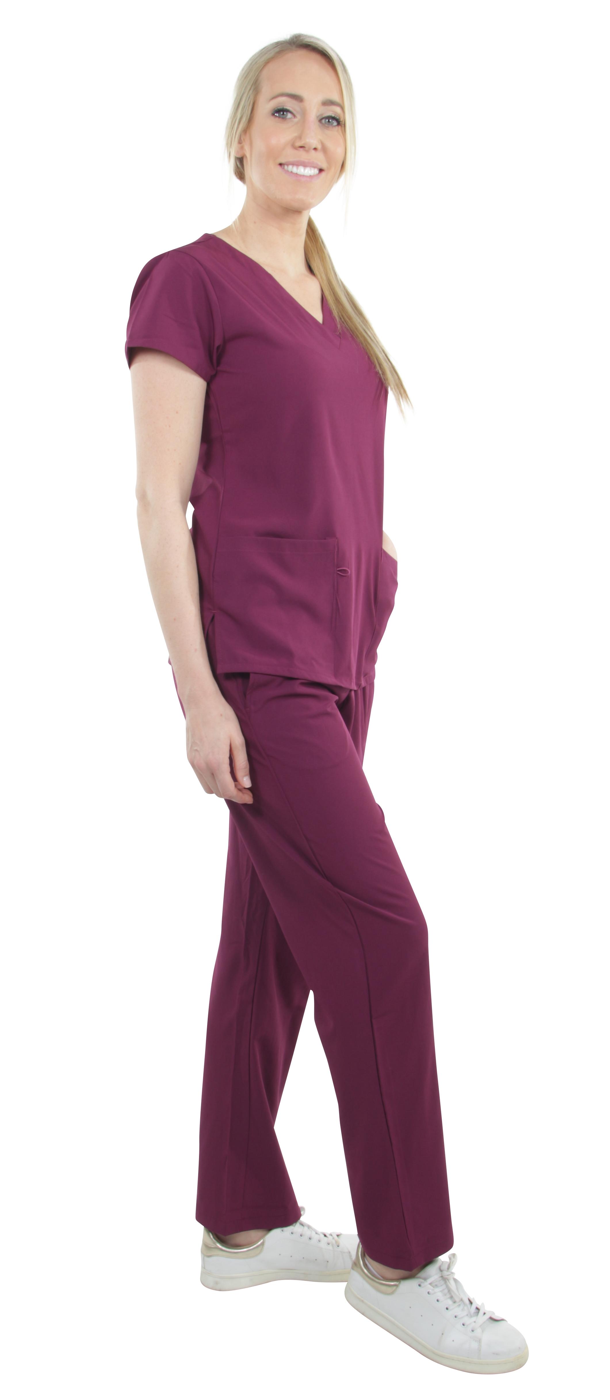 Unisex-Performance-Stretch-Medical-Uniform-Five-Pockets-V-Neck-Scrubs-Sets miniature 10