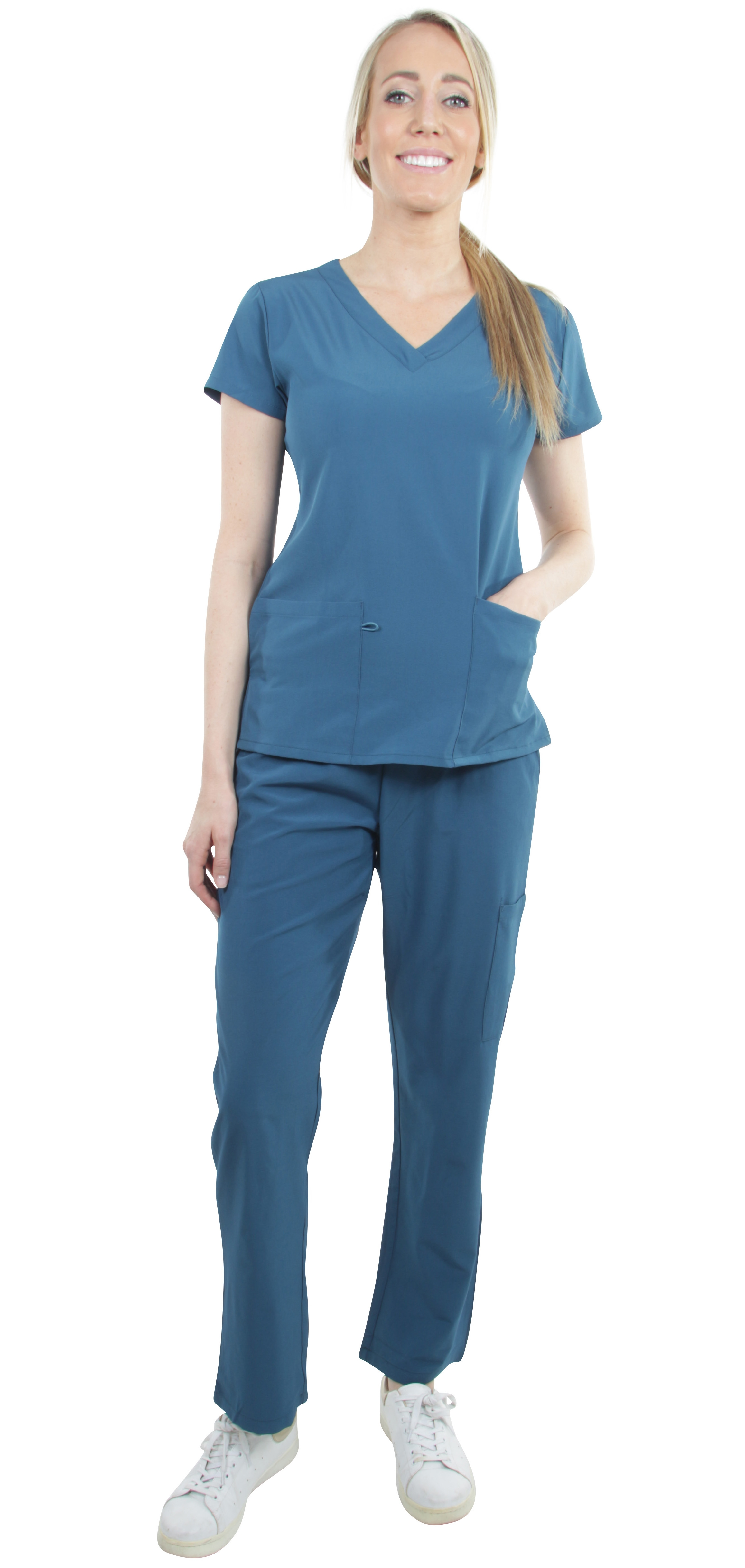 Unisex-Performance-Stretch-Medical-Uniform-Five-Pockets-V-Neck-Scrubs-Sets miniature 19