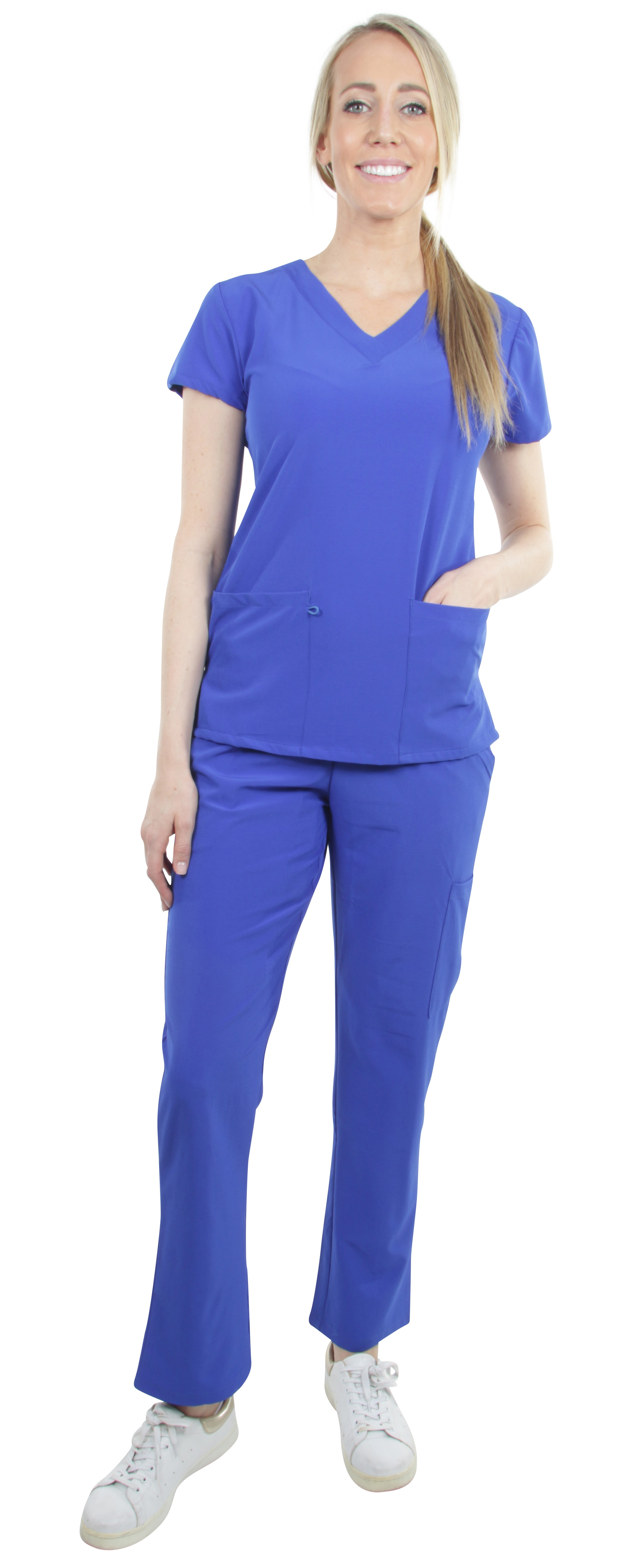 Unisex-Performance-Stretch-Medical-Uniform-Five-Pockets-V-Neck-Scrubs-Sets miniature 24