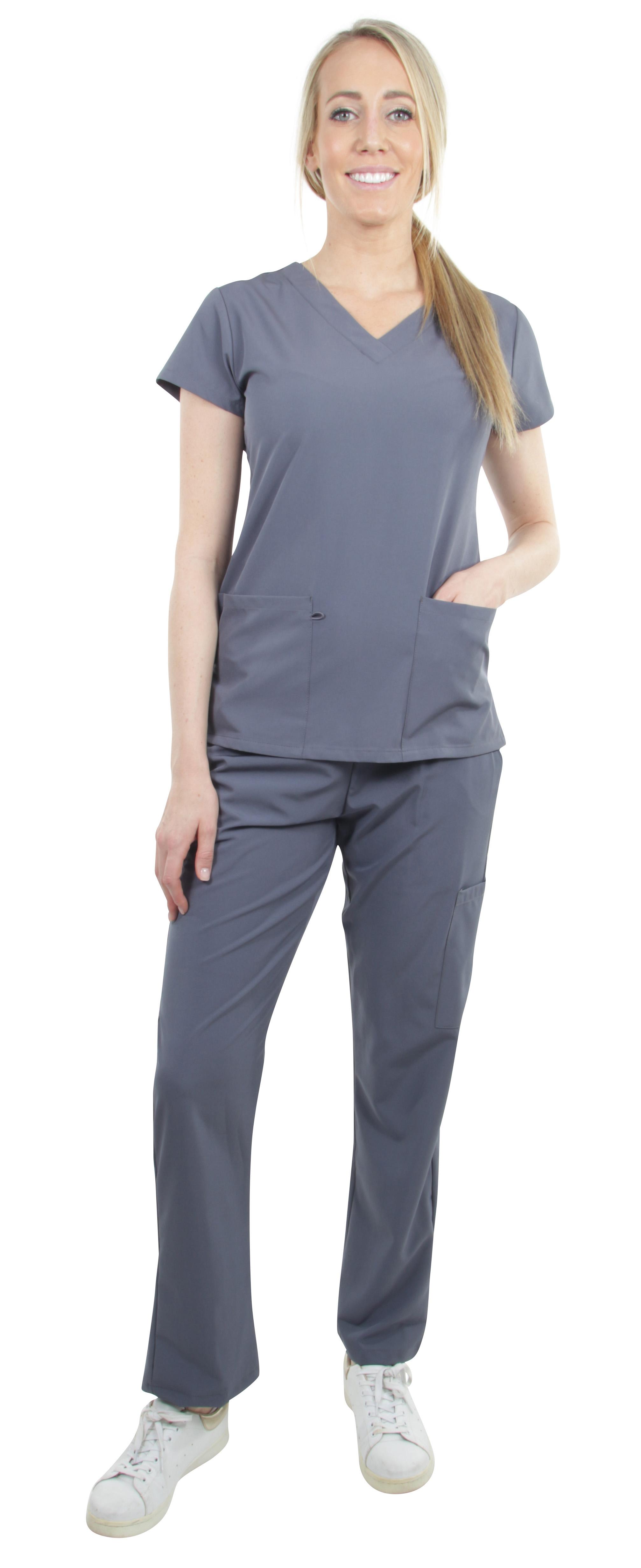 Unisex-Performance-Stretch-Medical-Uniform-Five-Pockets-V-Neck-Scrubs-Sets miniature 30