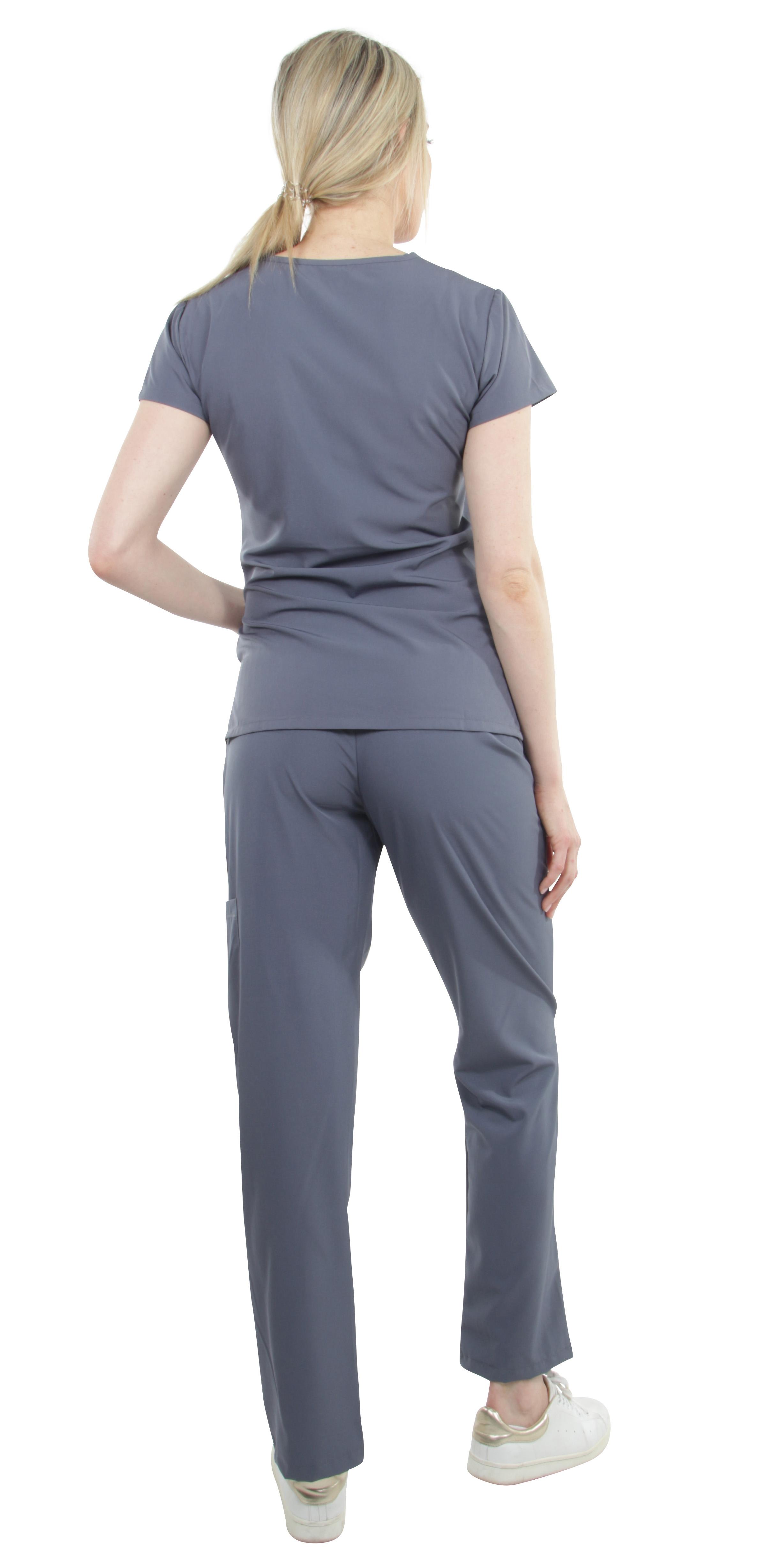 Unisex-Performance-Stretch-Medical-Uniform-Five-Pockets-V-Neck-Scrubs-Sets miniature 32