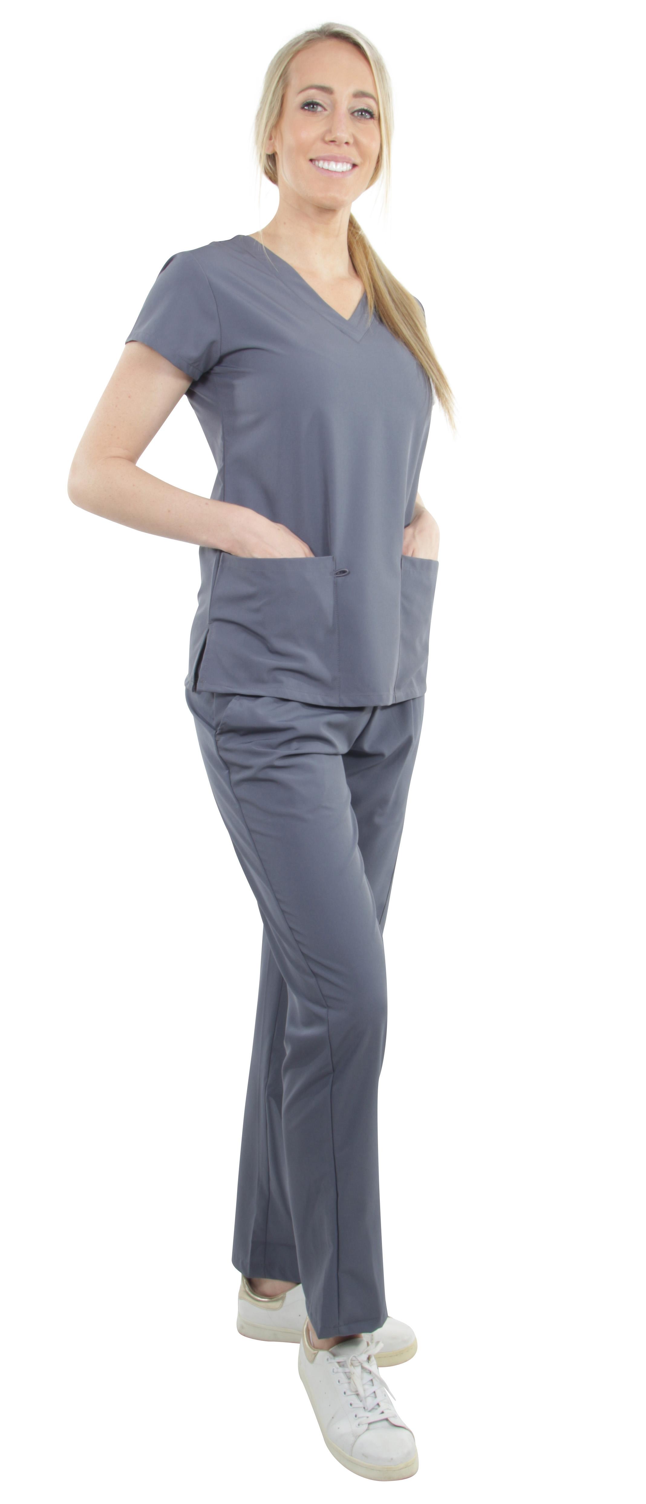 Unisex-Performance-Stretch-Medical-Uniform-Five-Pockets-V-Neck-Scrubs-Sets miniature 31