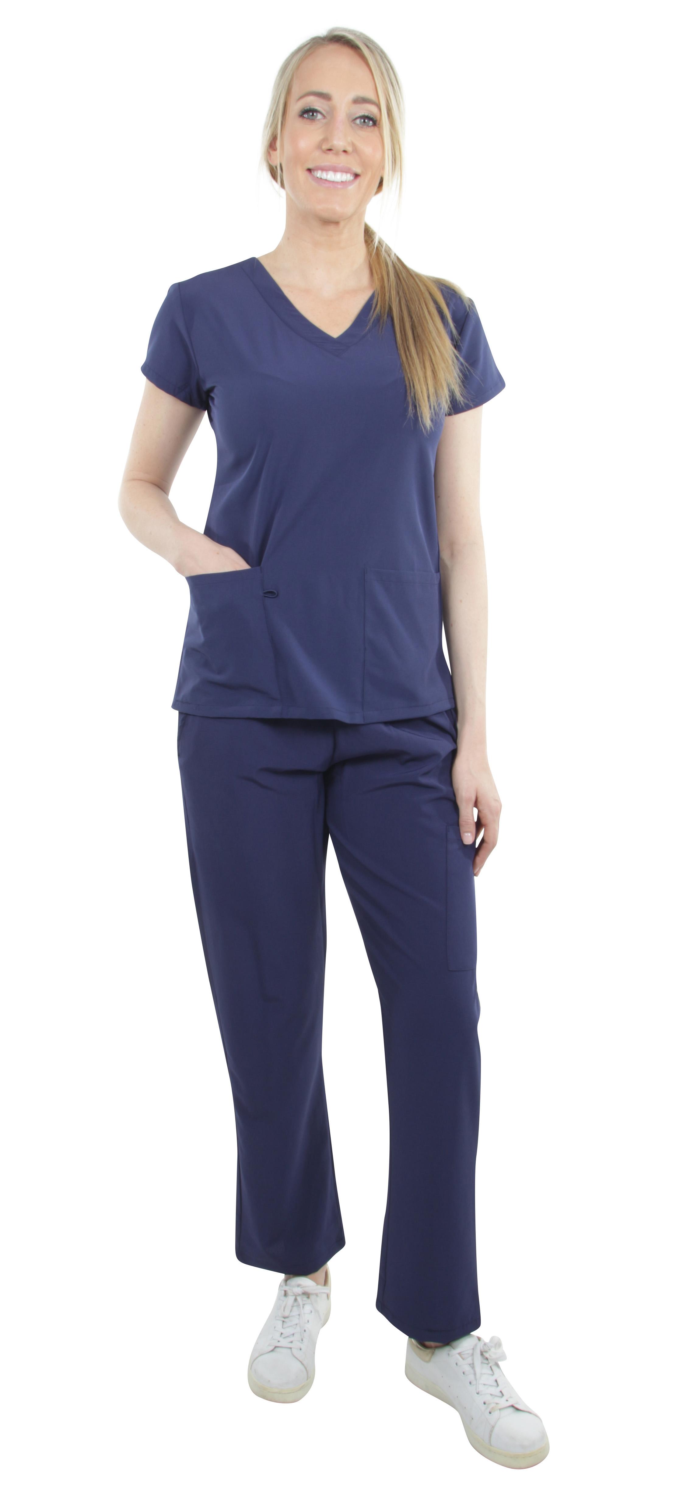 Unisex-Performance-Stretch-Medical-Uniform-Five-Pockets-V-Neck-Scrubs-Sets miniature 35
