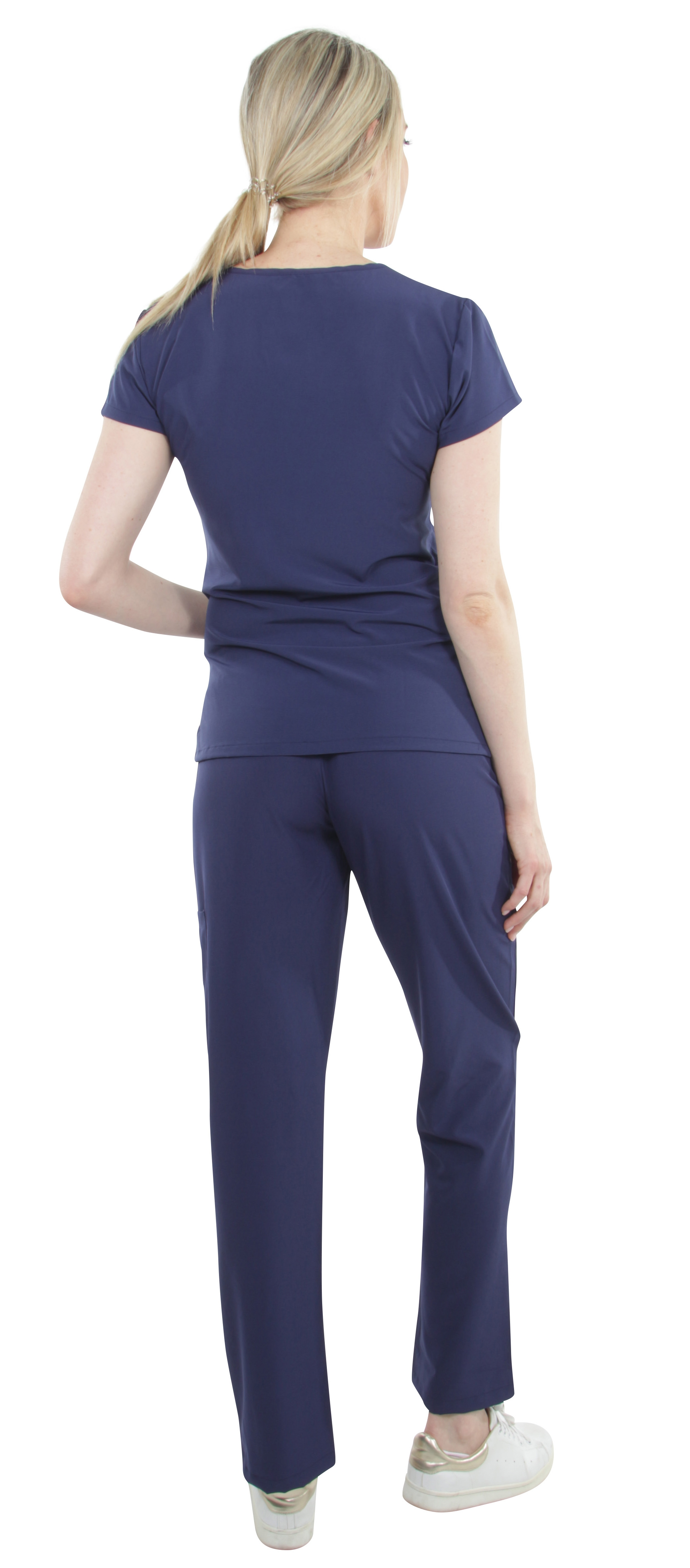 Unisex-Performance-Stretch-Medical-Uniform-Five-Pockets-V-Neck-Scrubs-Sets miniature 37