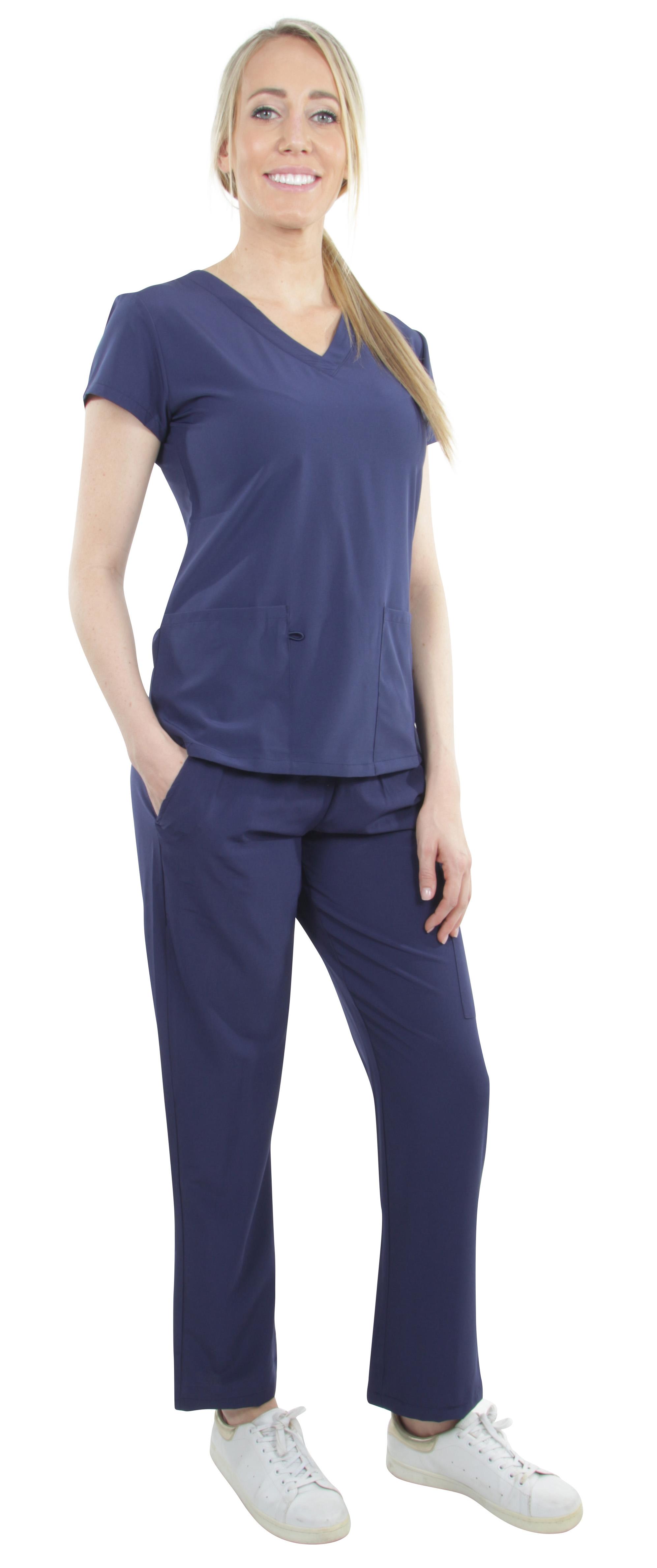 Unisex-Performance-Stretch-Medical-Uniform-Five-Pockets-V-Neck-Scrubs-Sets miniature 36