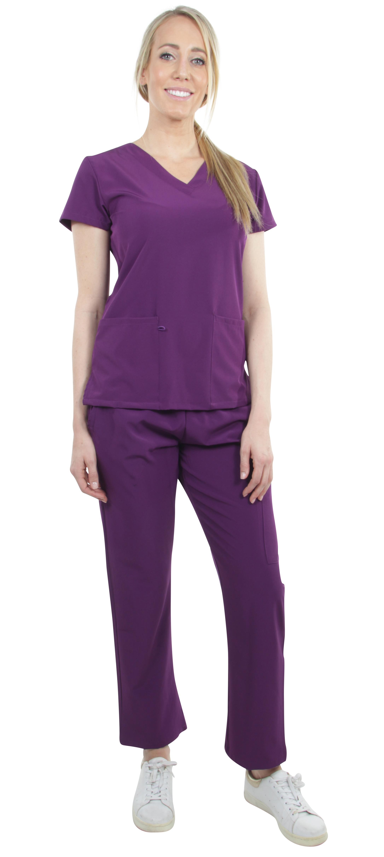 Unisex-Performance-Stretch-Medical-Uniform-Five-Pockets-V-Neck-Scrubs-Sets thumbnail 40