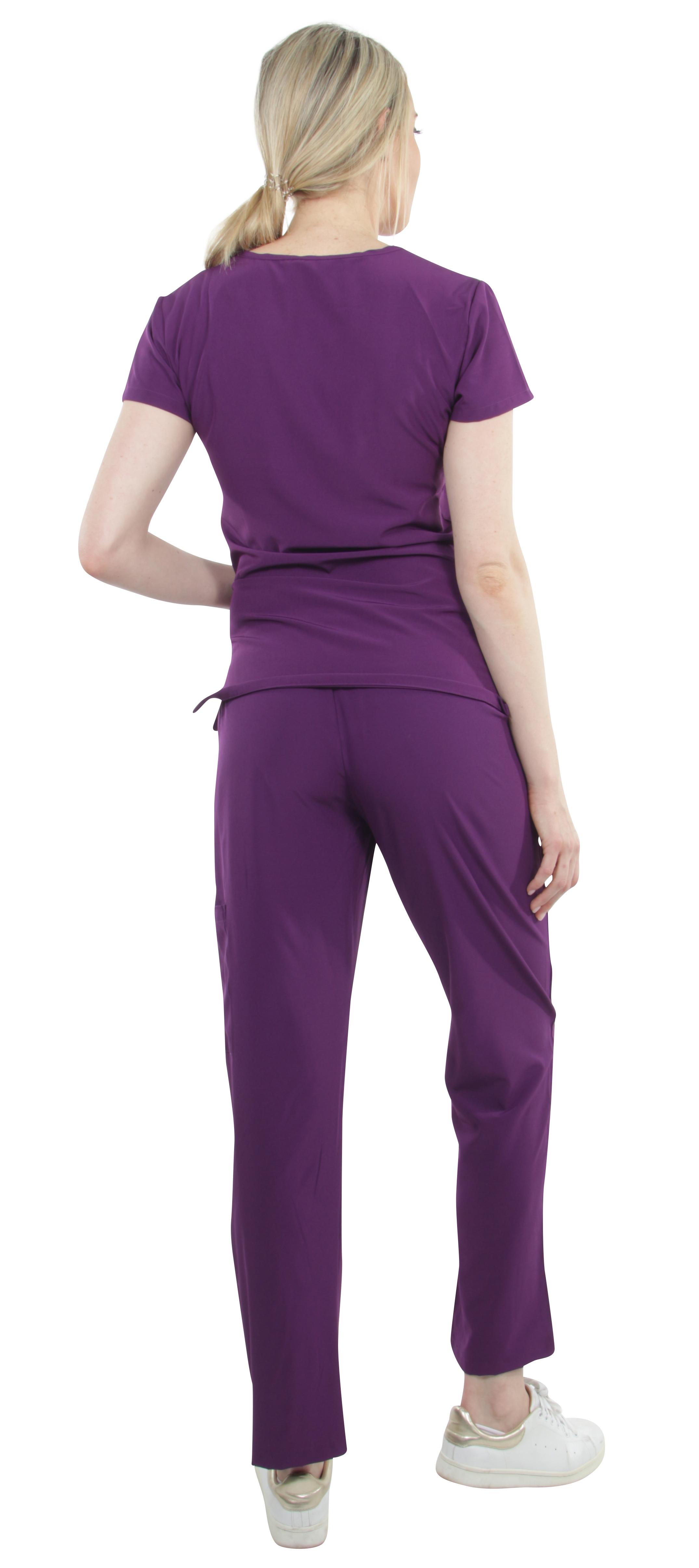 Unisex-Performance-Stretch-Medical-Uniform-Five-Pockets-V-Neck-Scrubs-Sets miniature 41