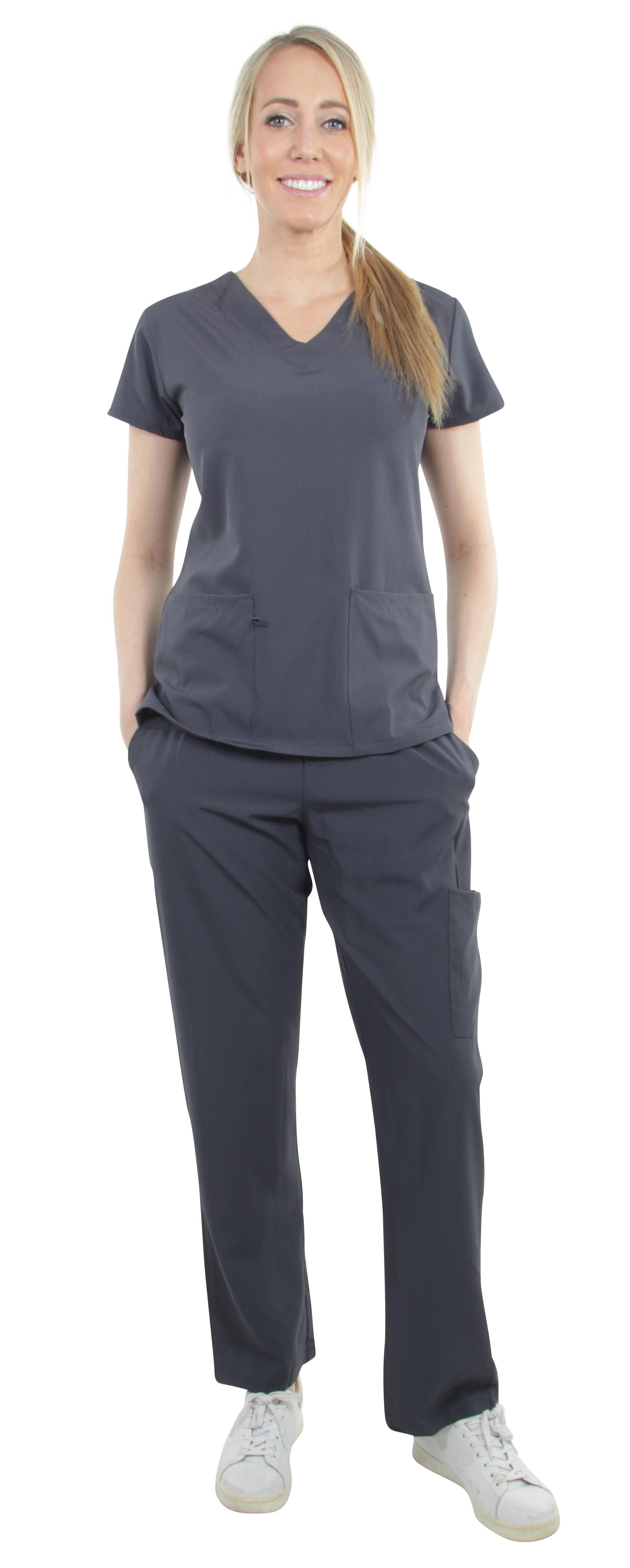 Unisex-Performance-Stretch-Medical-Uniform-Five-Pockets-V-Neck-Scrubs-Sets miniature 45