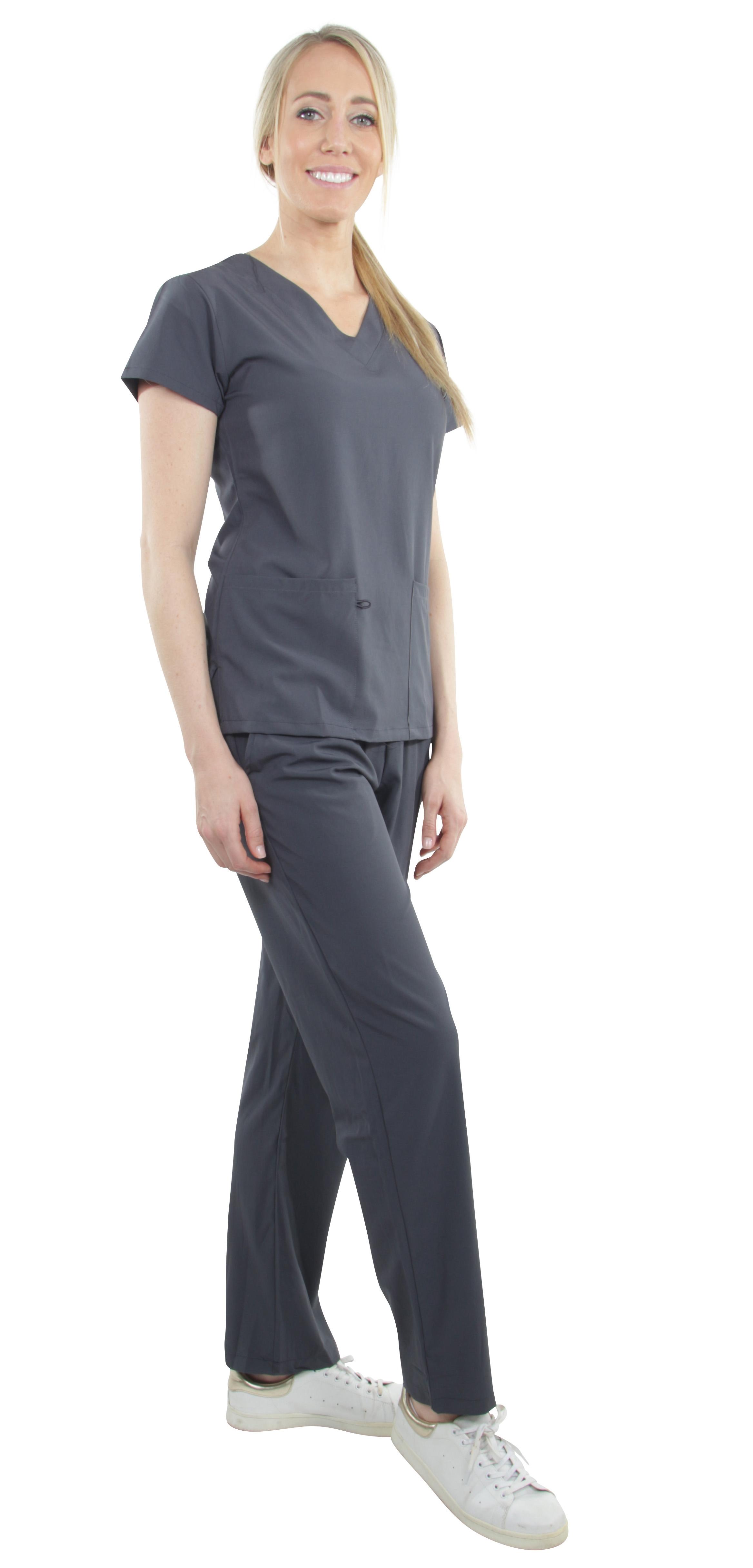 Unisex-Performance-Stretch-Medical-Uniform-Five-Pockets-V-Neck-Scrubs-Sets miniature 44