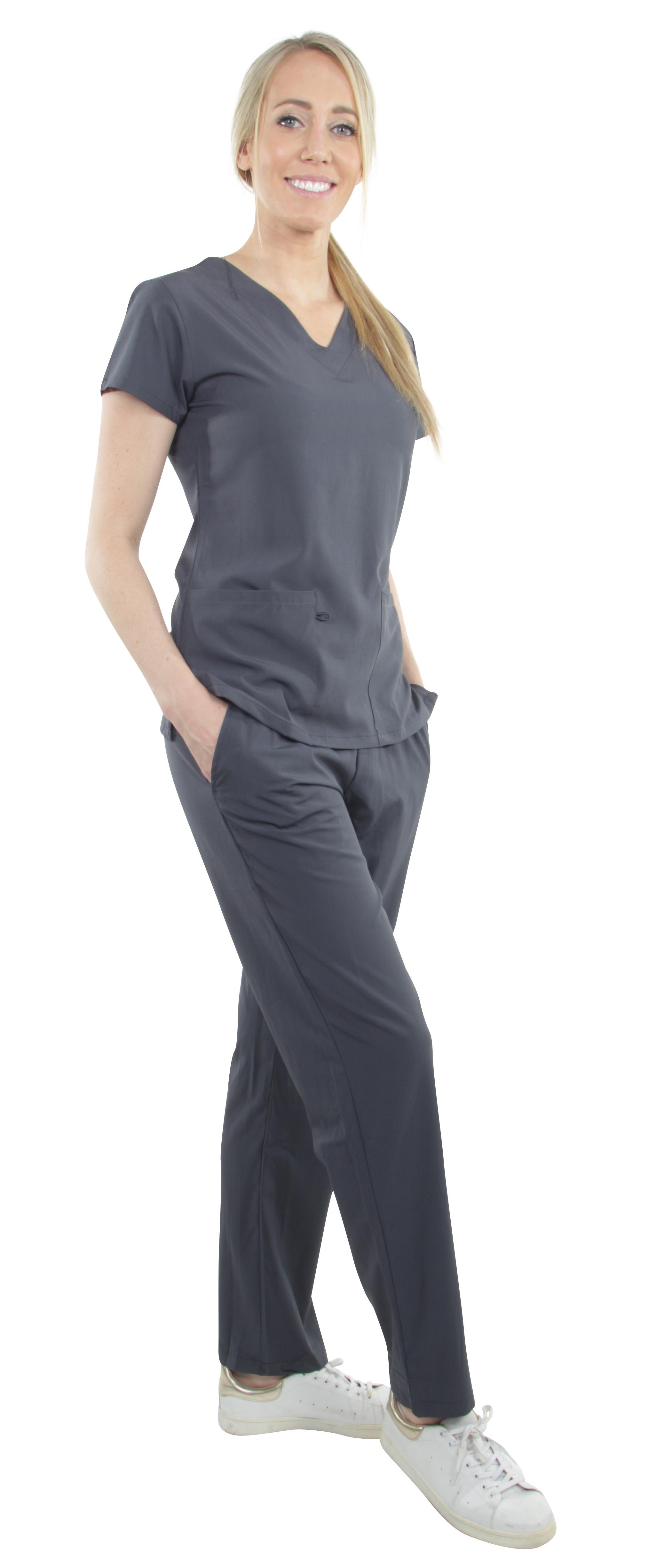 Unisex-Performance-Stretch-Medical-Uniform-Five-Pockets-V-Neck-Scrubs-Sets miniature 46